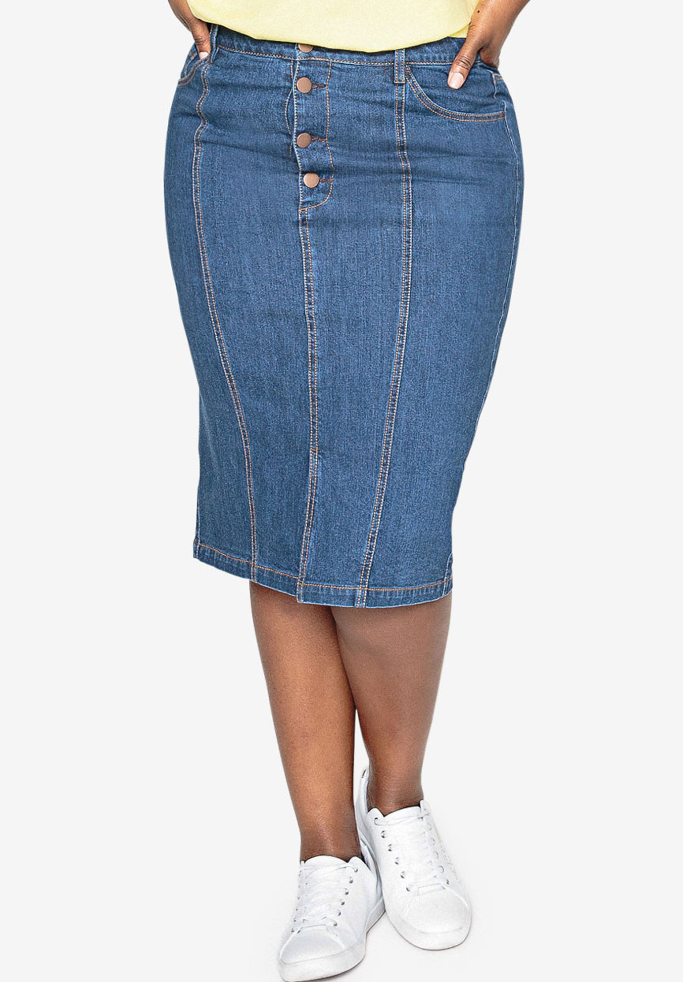 Seamed Denim Skirt by Castaluna,