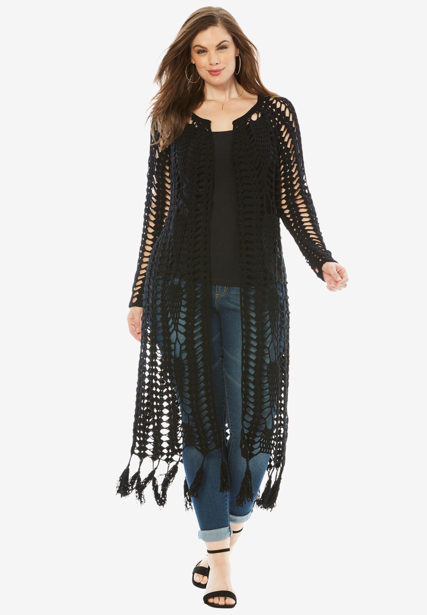 69d88e640 Long Crochet Cardigan with Fringe