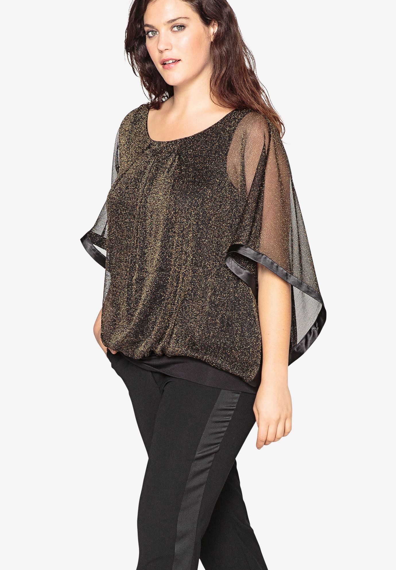 Sheer Flowing Top With Dolman Sleeves by Castaluna,