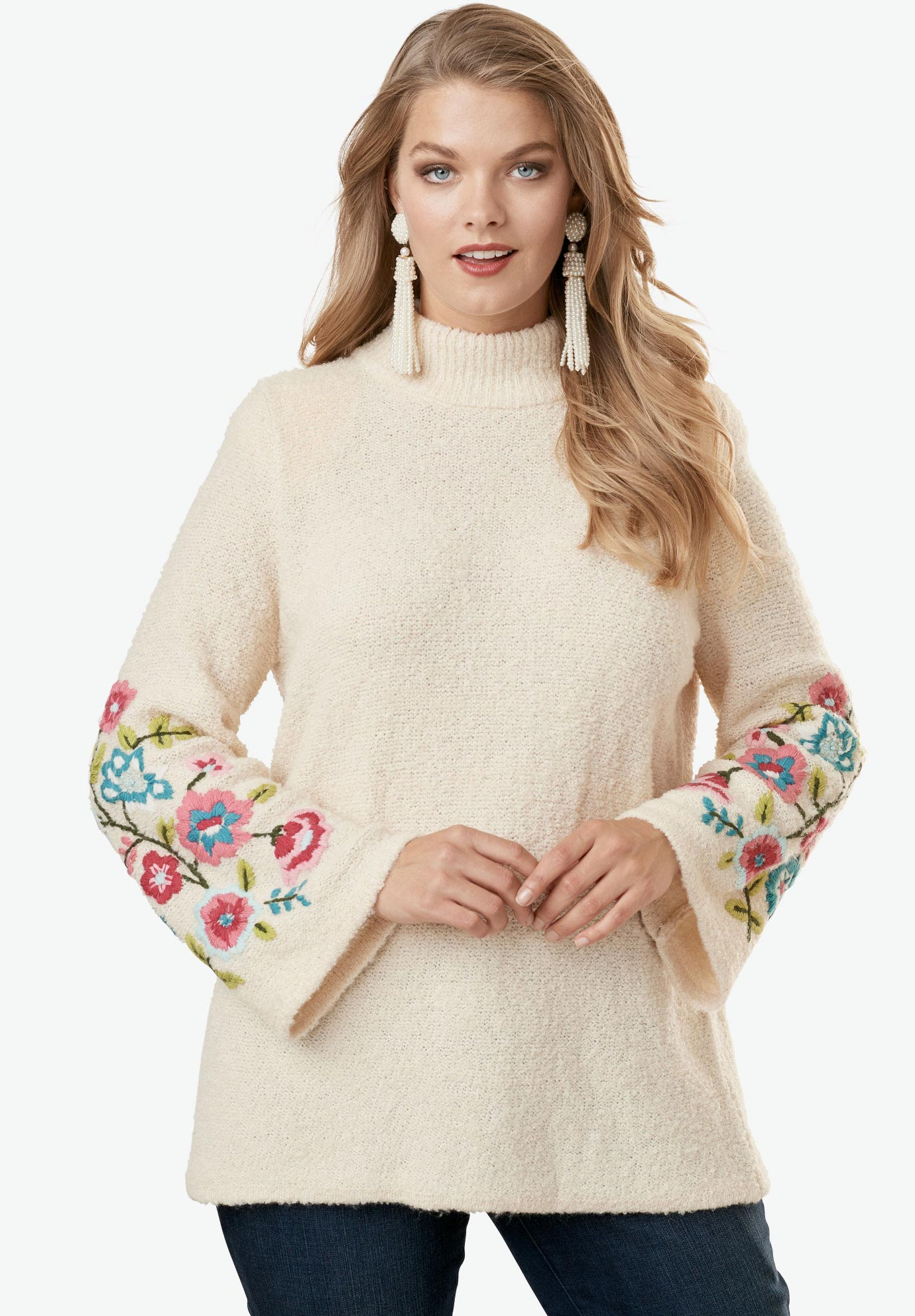 Floral Embroidered Sweater by Denim 24/7, OATMEAL, hi-res