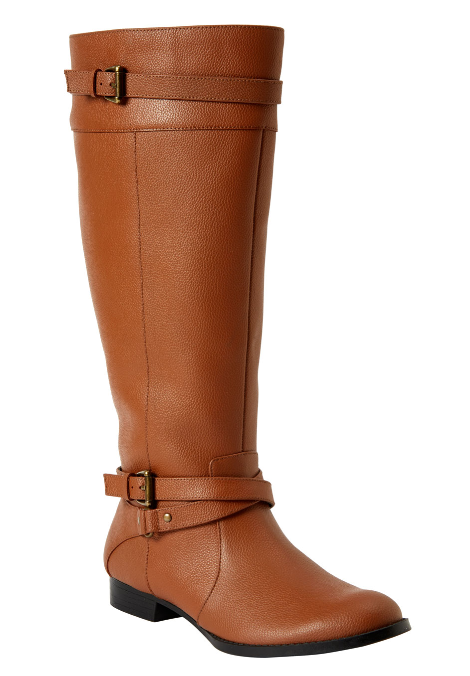 Janis Leather Wide Calf Boot by Comfortview®, COGNAC, hi-res