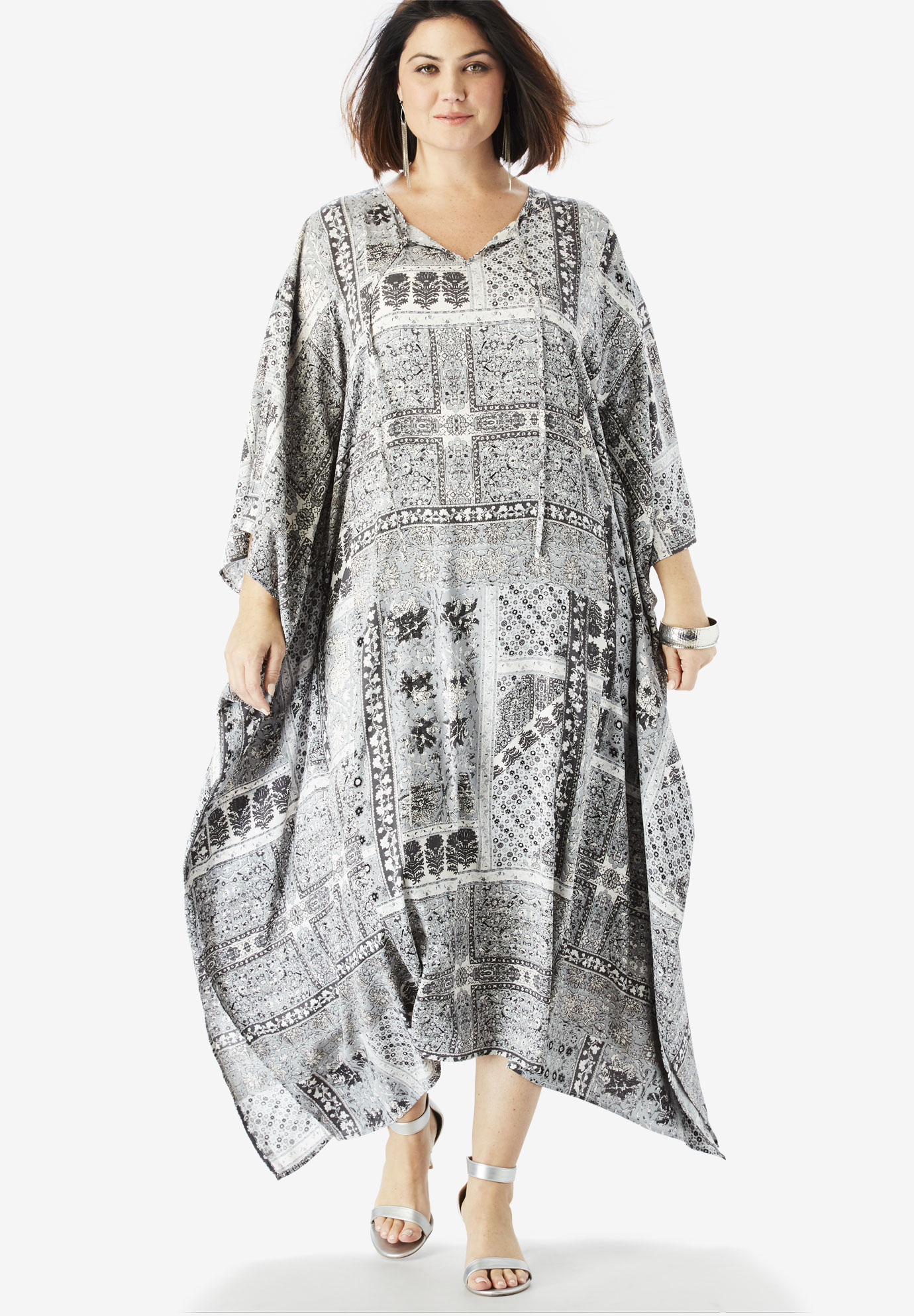 Georgette Caftan Dress with Kimono Sleeves,