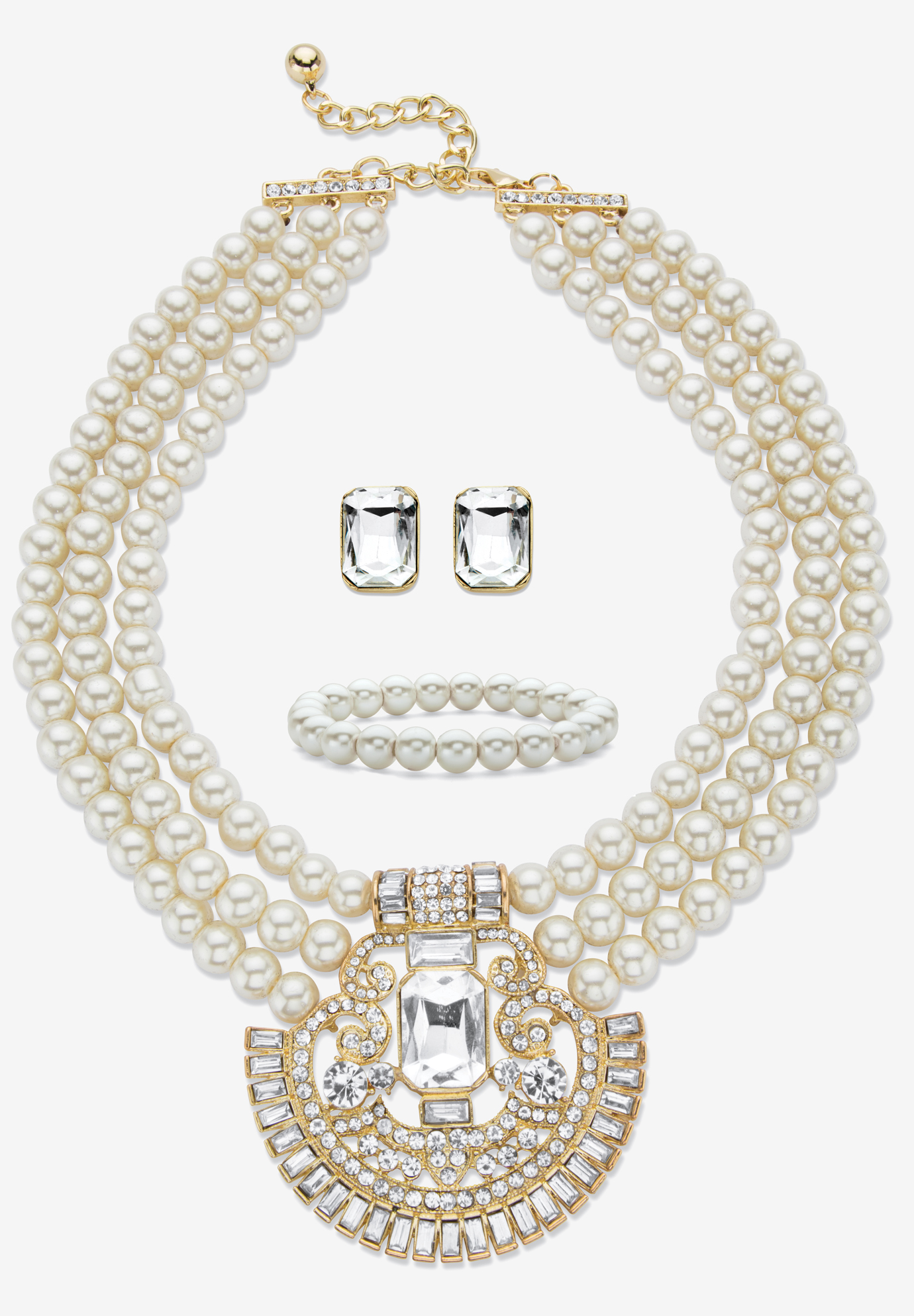 "Gold Tone Simulated Pearl Bib 17"" Necklace Set with Emerald Cut Crystals, DIAMOND"