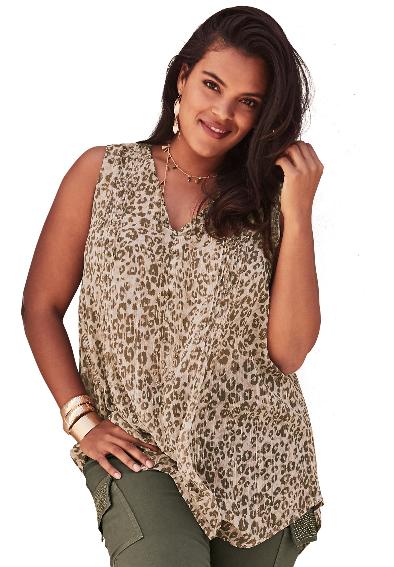Metallic Beaded Tunic with High-Low Hem,