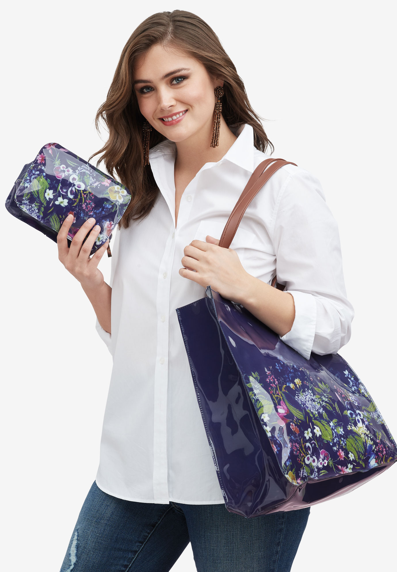 Three-Piece Tote Set, FLORAL PRINT