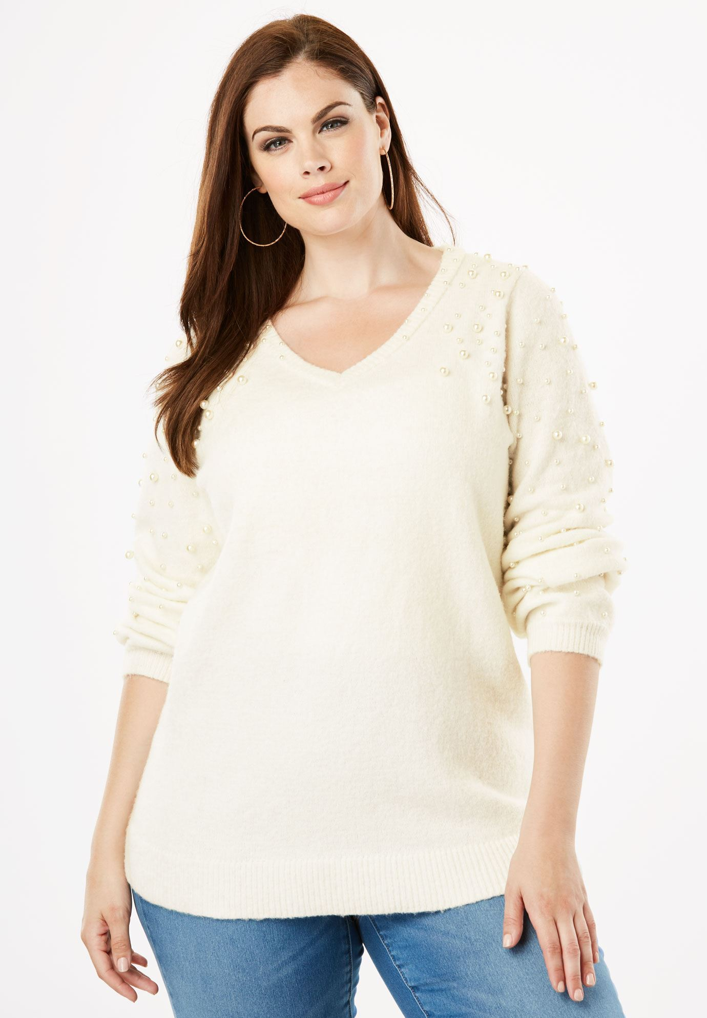Embellished Sweater with Blouson Sleeves,