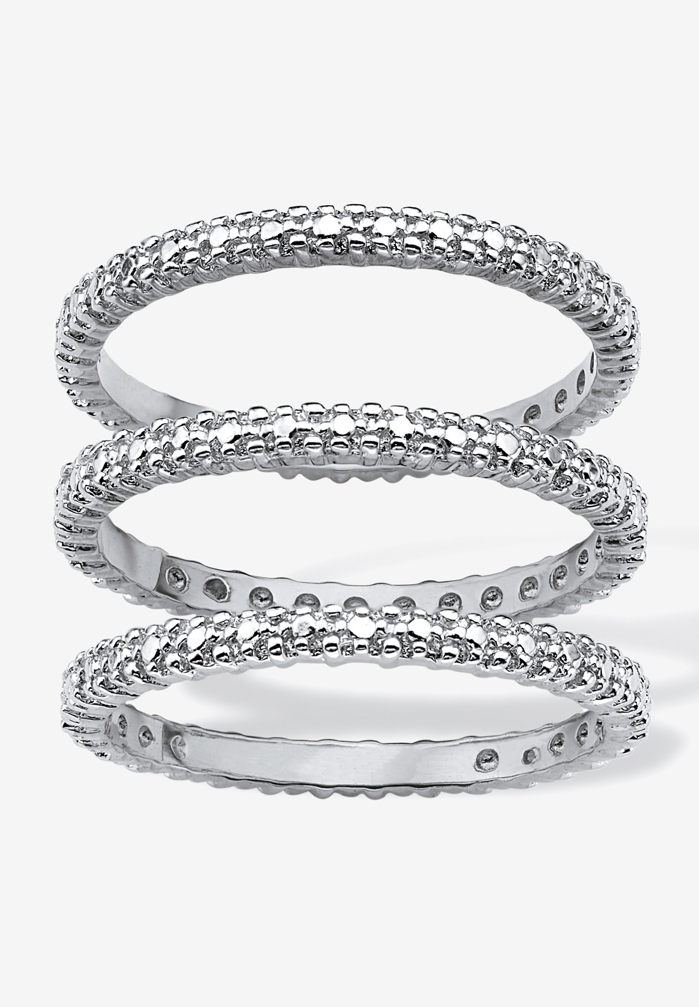 3-Piece Platinum-Plated Stackable Ring with Diamond Accent,