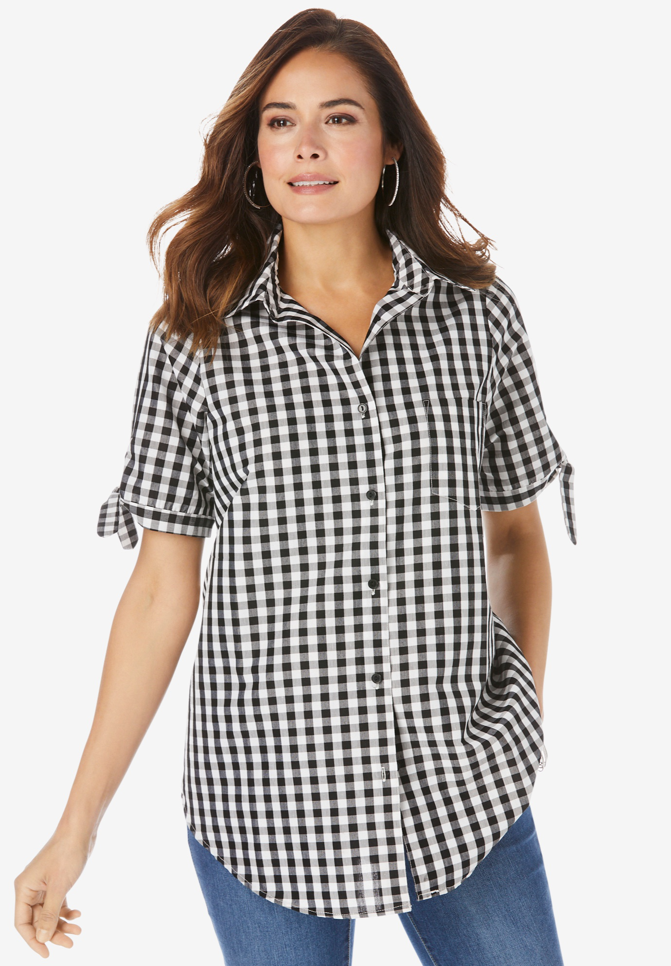 Gingham Shirt with Sleeve Ties,