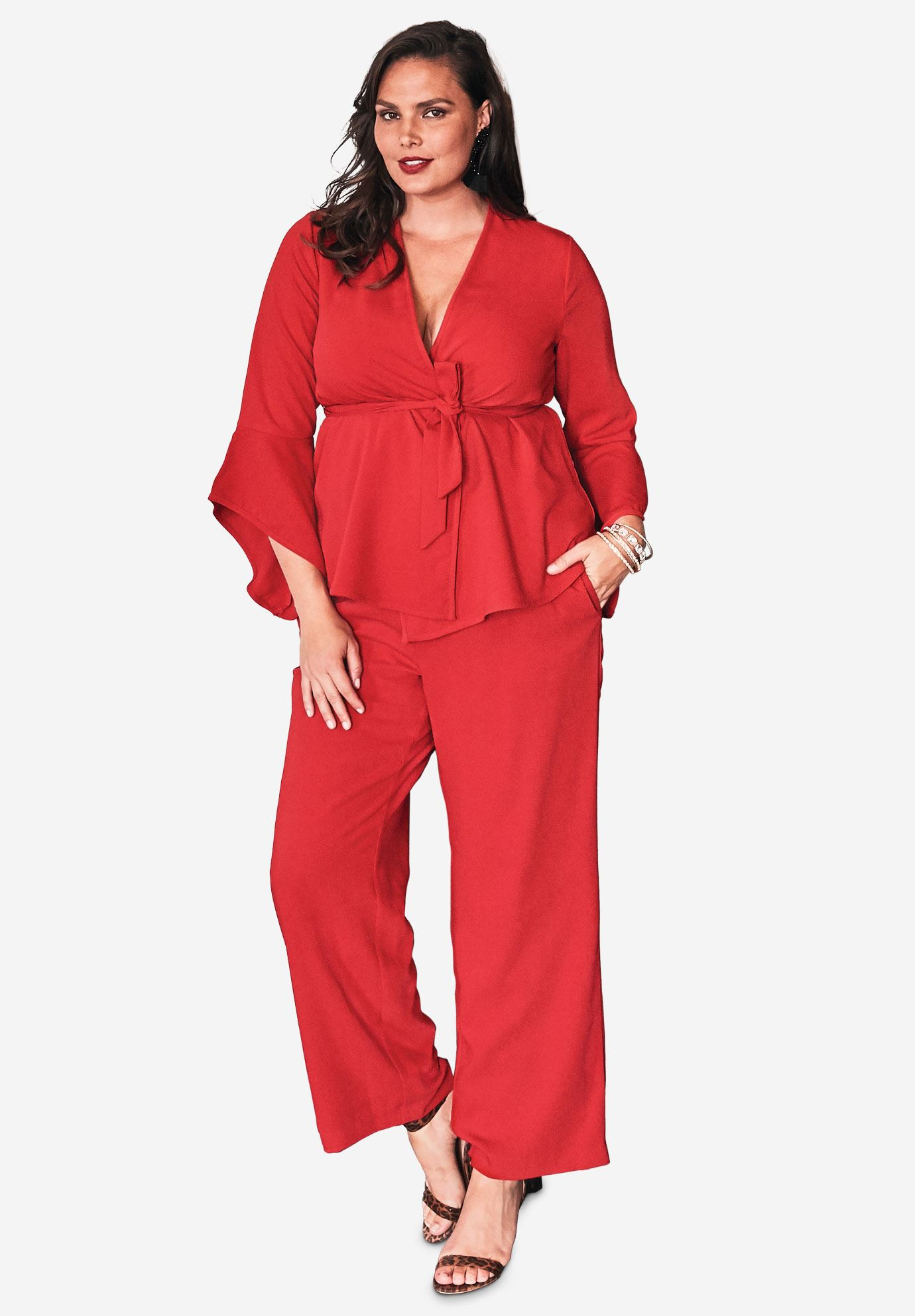 Pantsuit with Bell Sleeves,