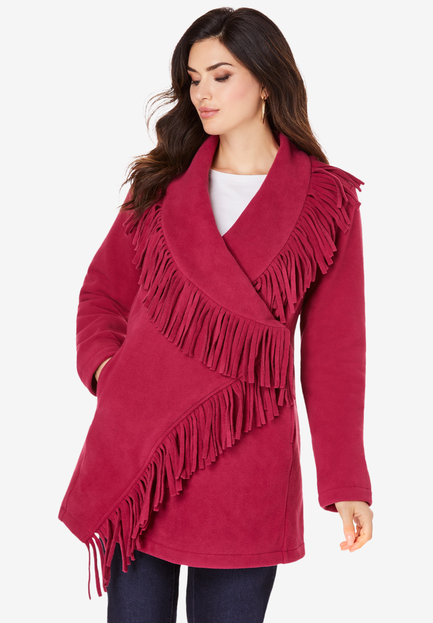Fringe Fleece Jacket,
