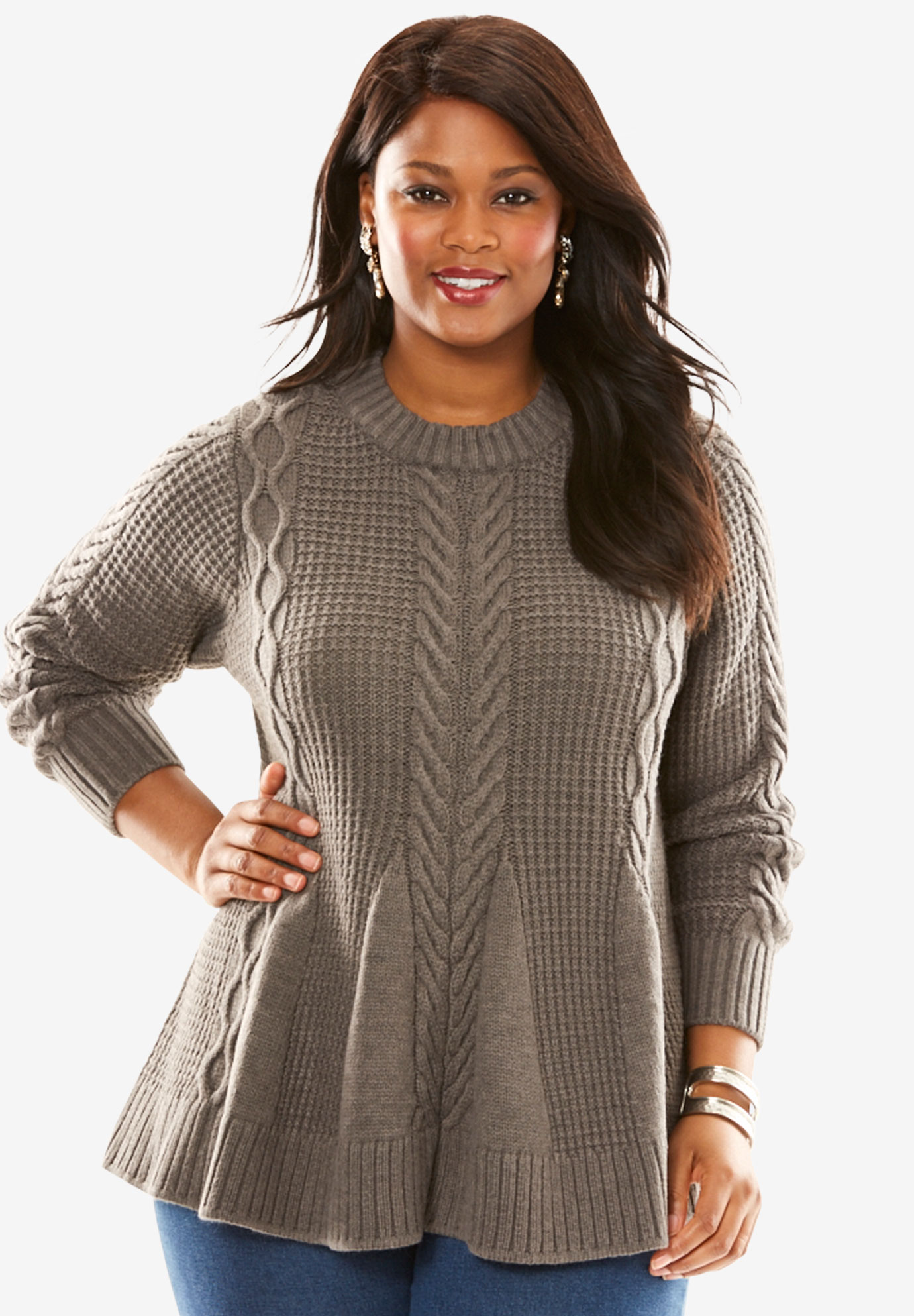 Cable Knit Fit Amp Flare Sweater Plus Size Sweaters Roaman S