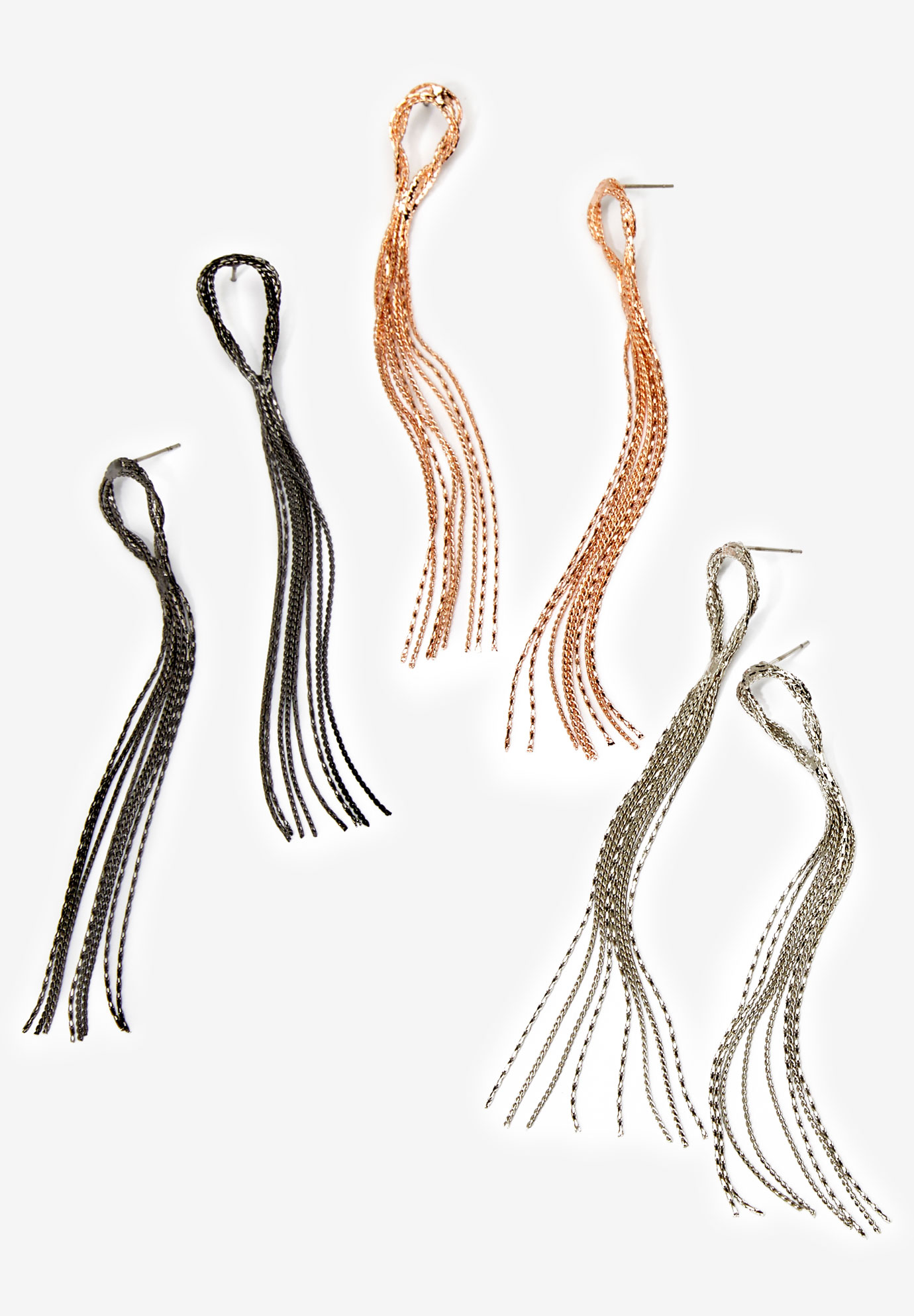 Fringe Earrings Set, MULTI METALLIC