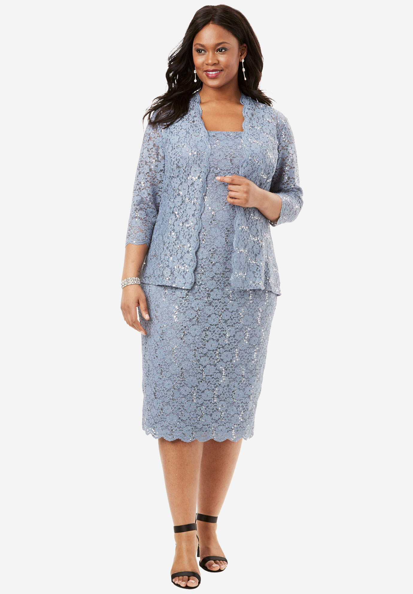 Lace Jacket Dress by Alex Evenings, STEEL BLUE, hi-res