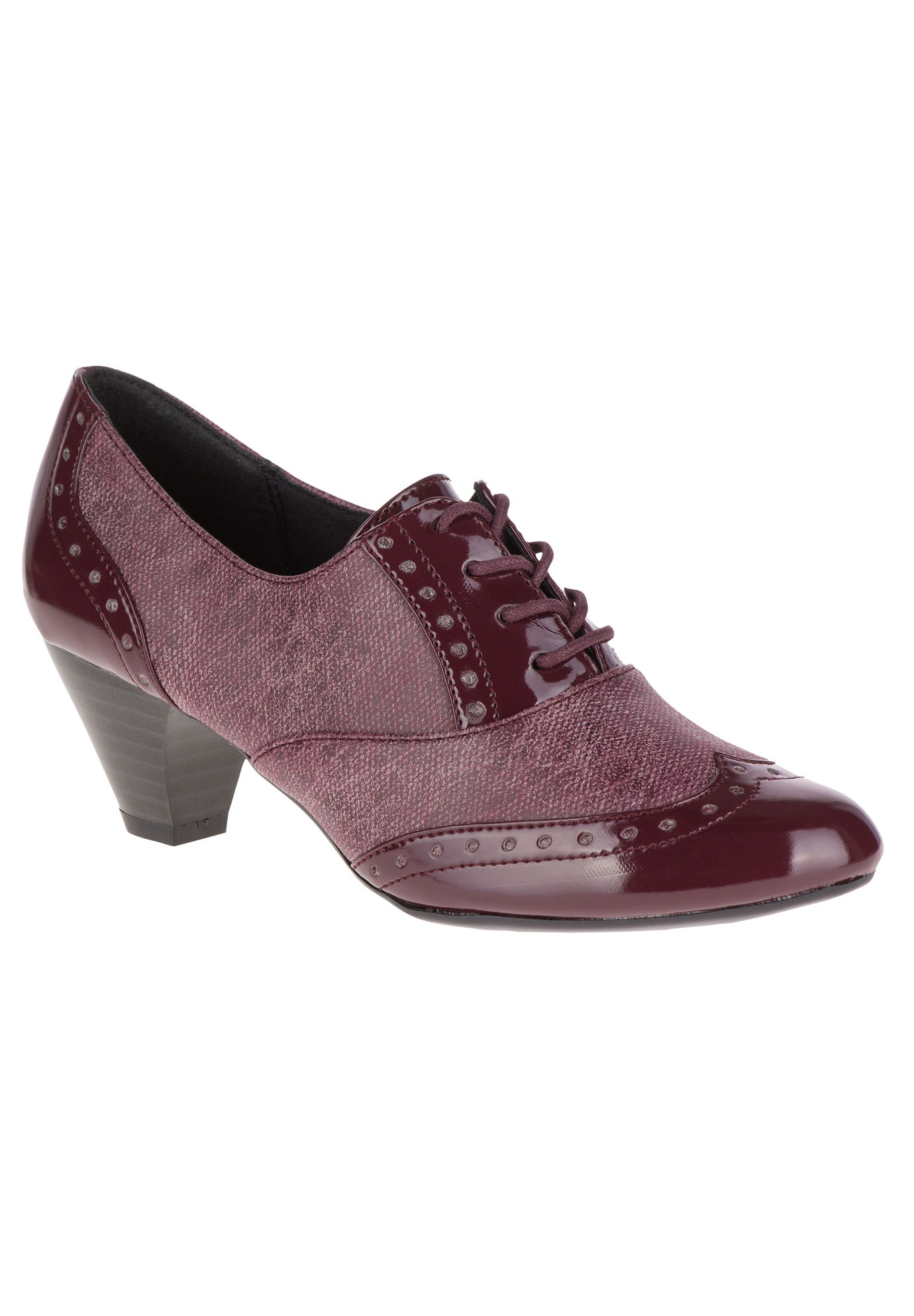 Gianna Pumps by Soft Style, BORDEAUX TWEED PATENT, hi-res