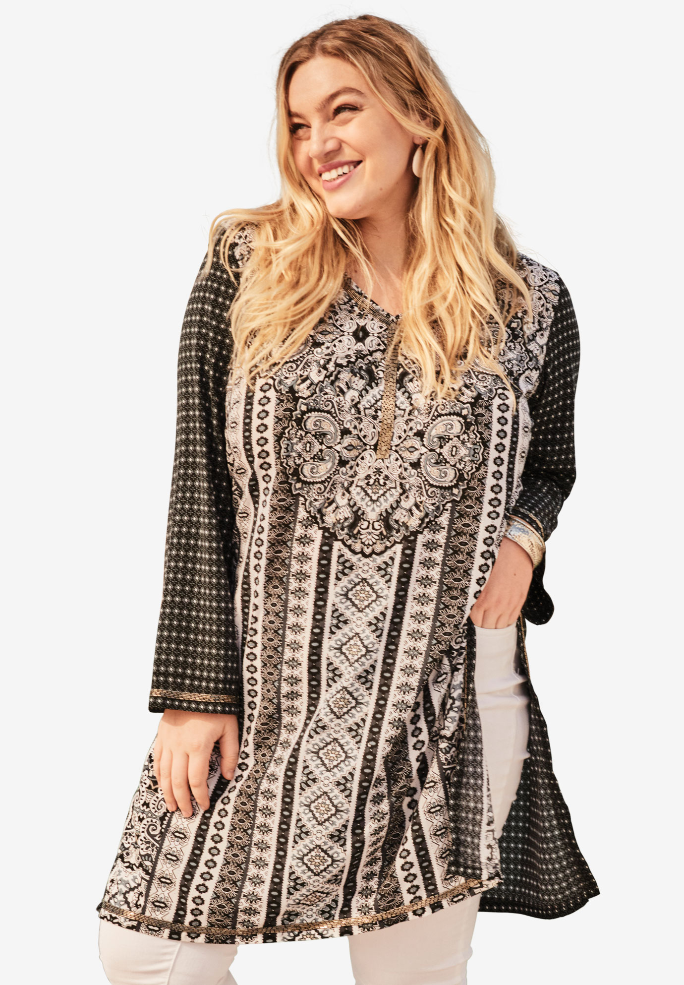 Beaded Tunic with Side Slits,