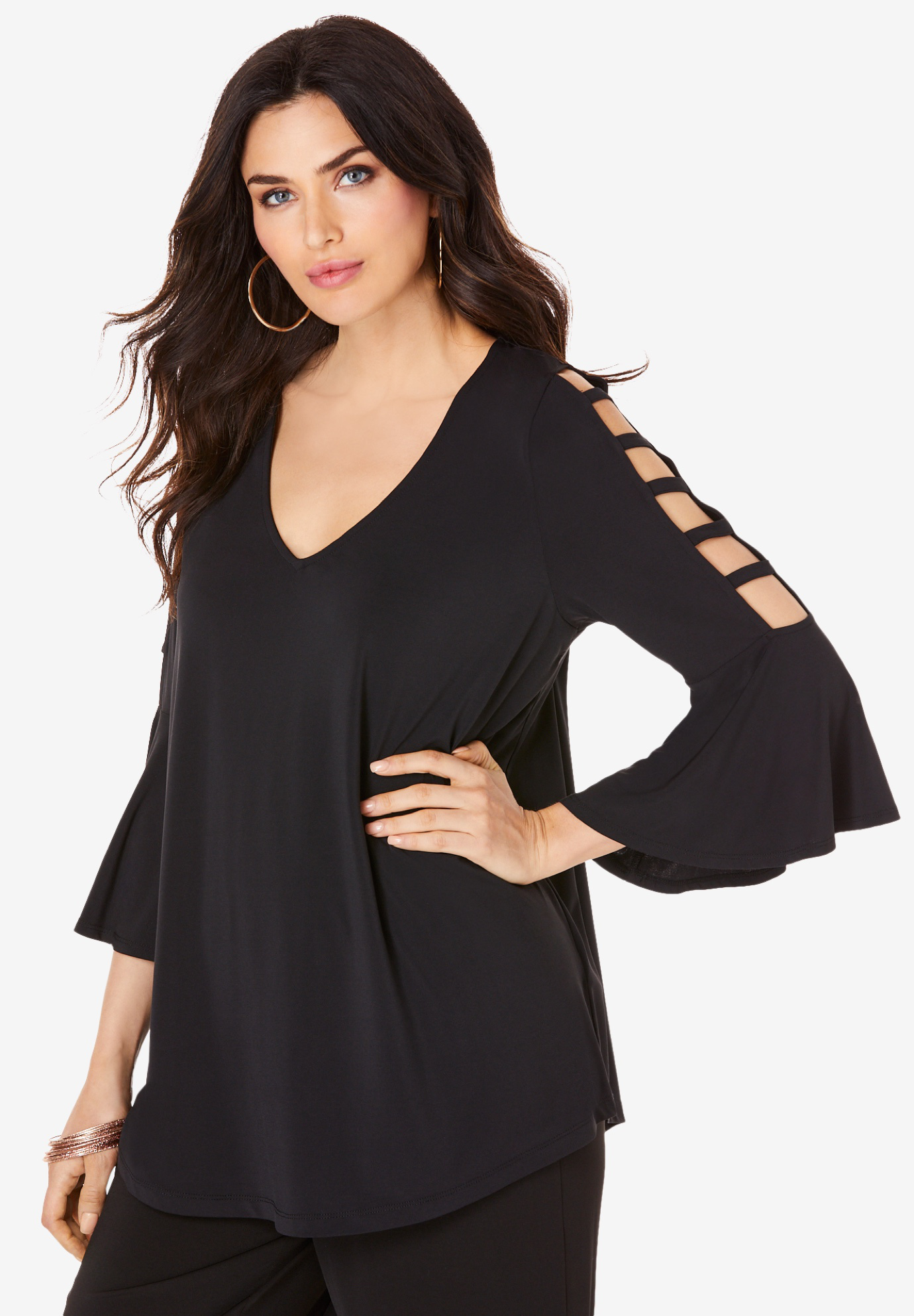 Ultra Smooth Lattice-Sleeve Top,