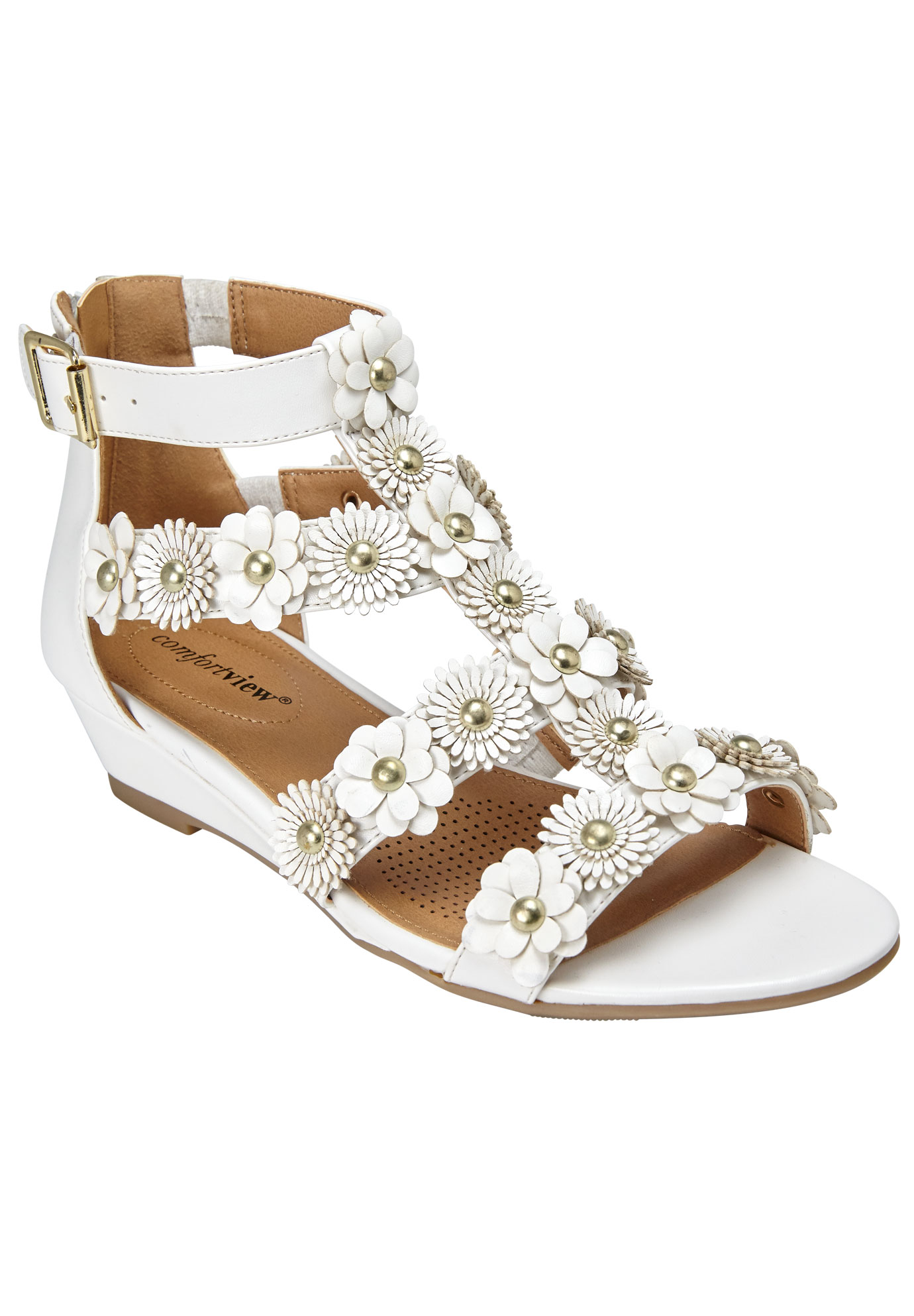 Alondra Sandals by Comfortview®, WHITE, hi-res