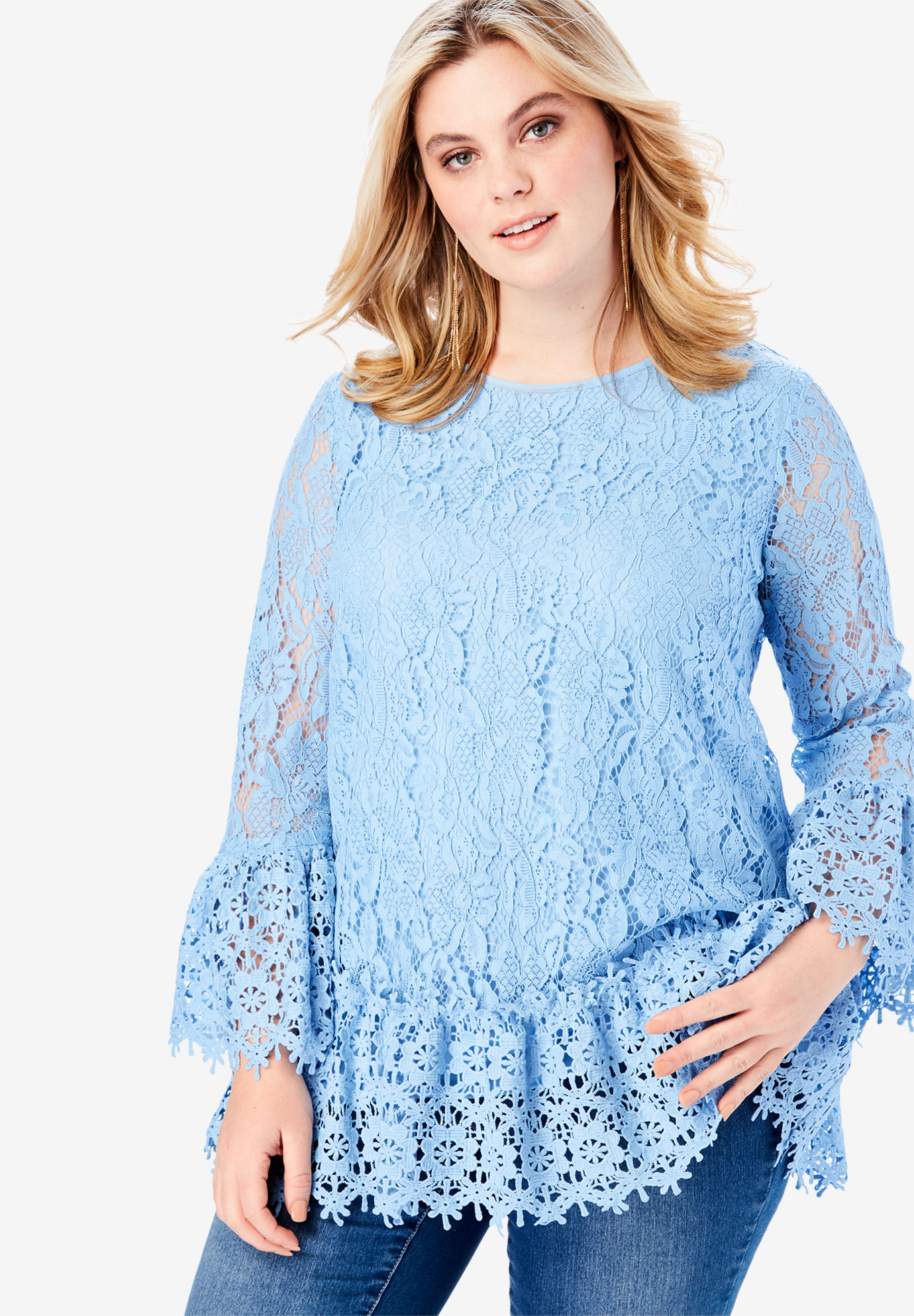 Allover Lace Blouse with Tie Back,