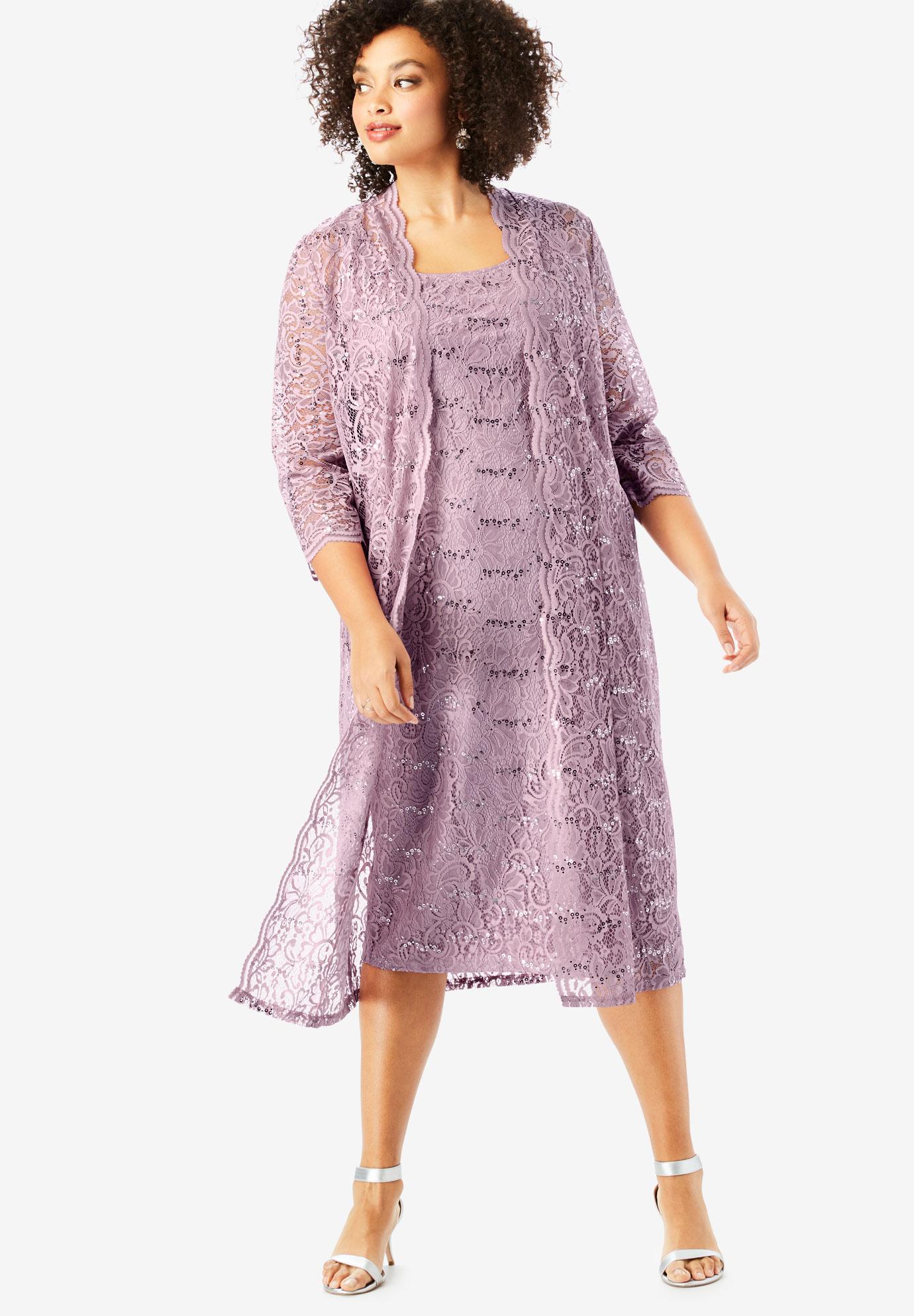 7eafecf9e799 Lace & Sequin Jacket Dress Set | Plus Size Formal & Special Occasion ...