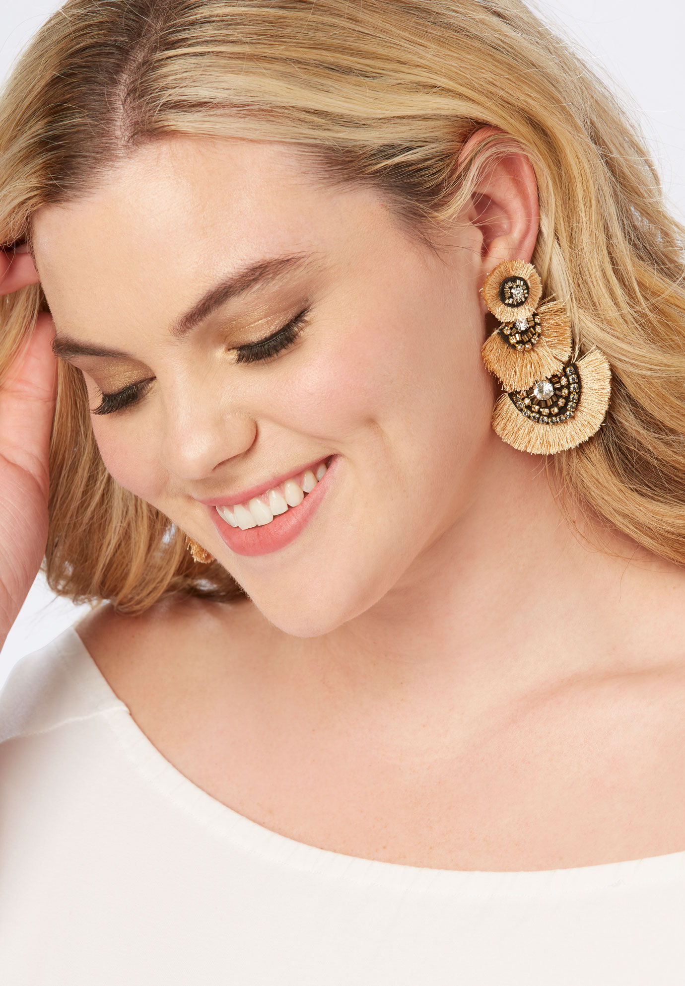Fringe Earrings, NEUTRAL