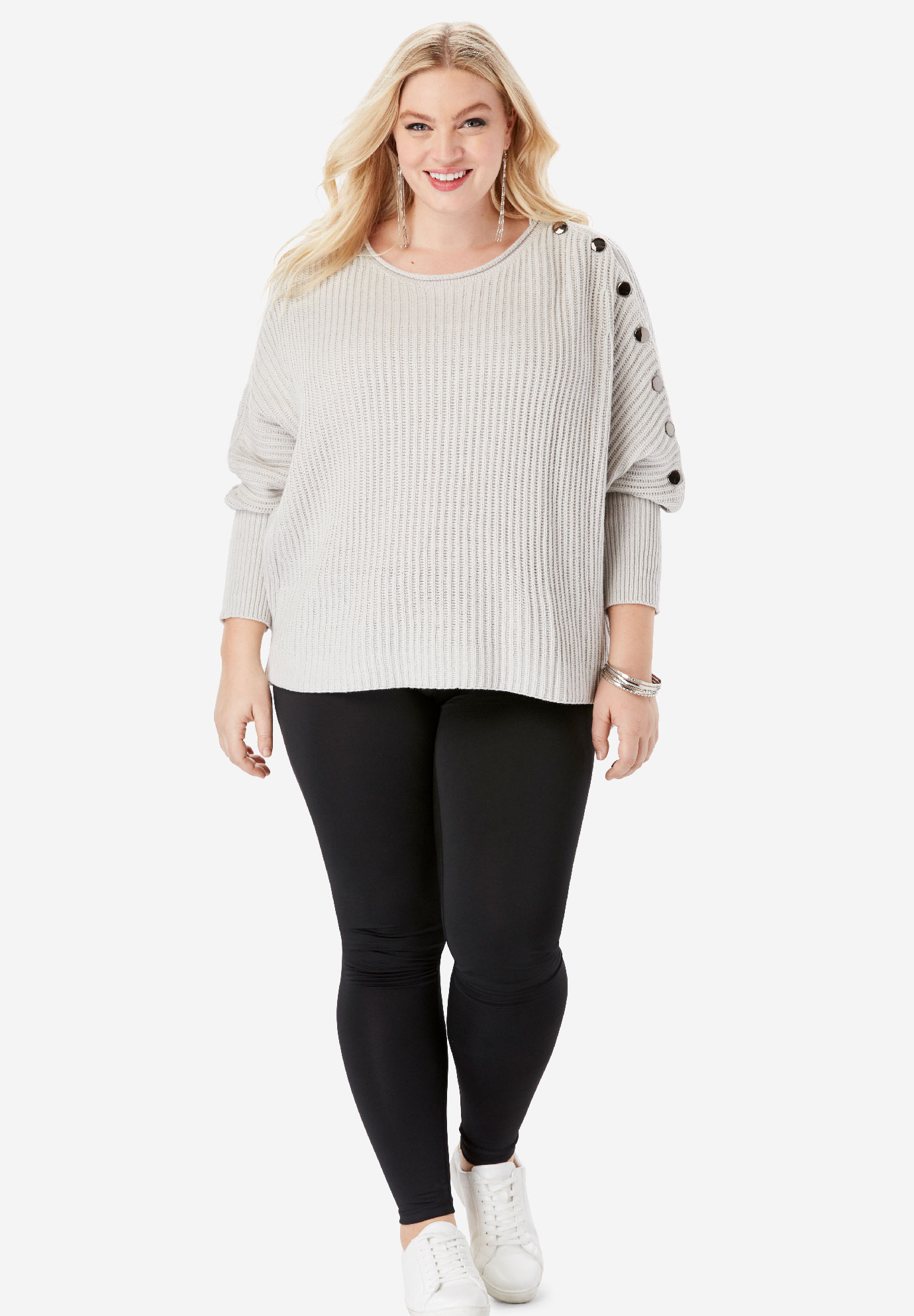 Button-Sleeve Sweater in Shaker Stitch,