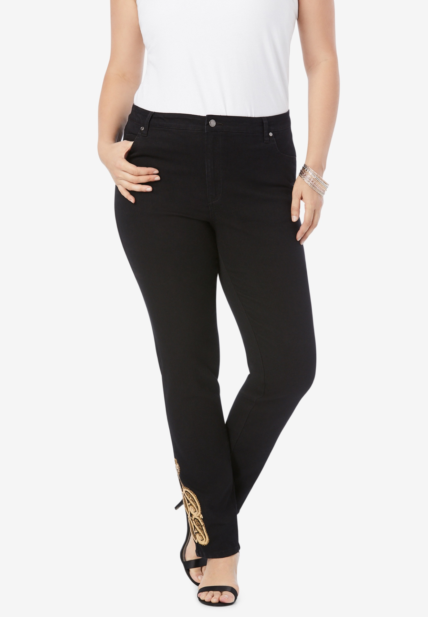 Gold Embroidered Straight-Leg Jean with Invisible Stretch® ,