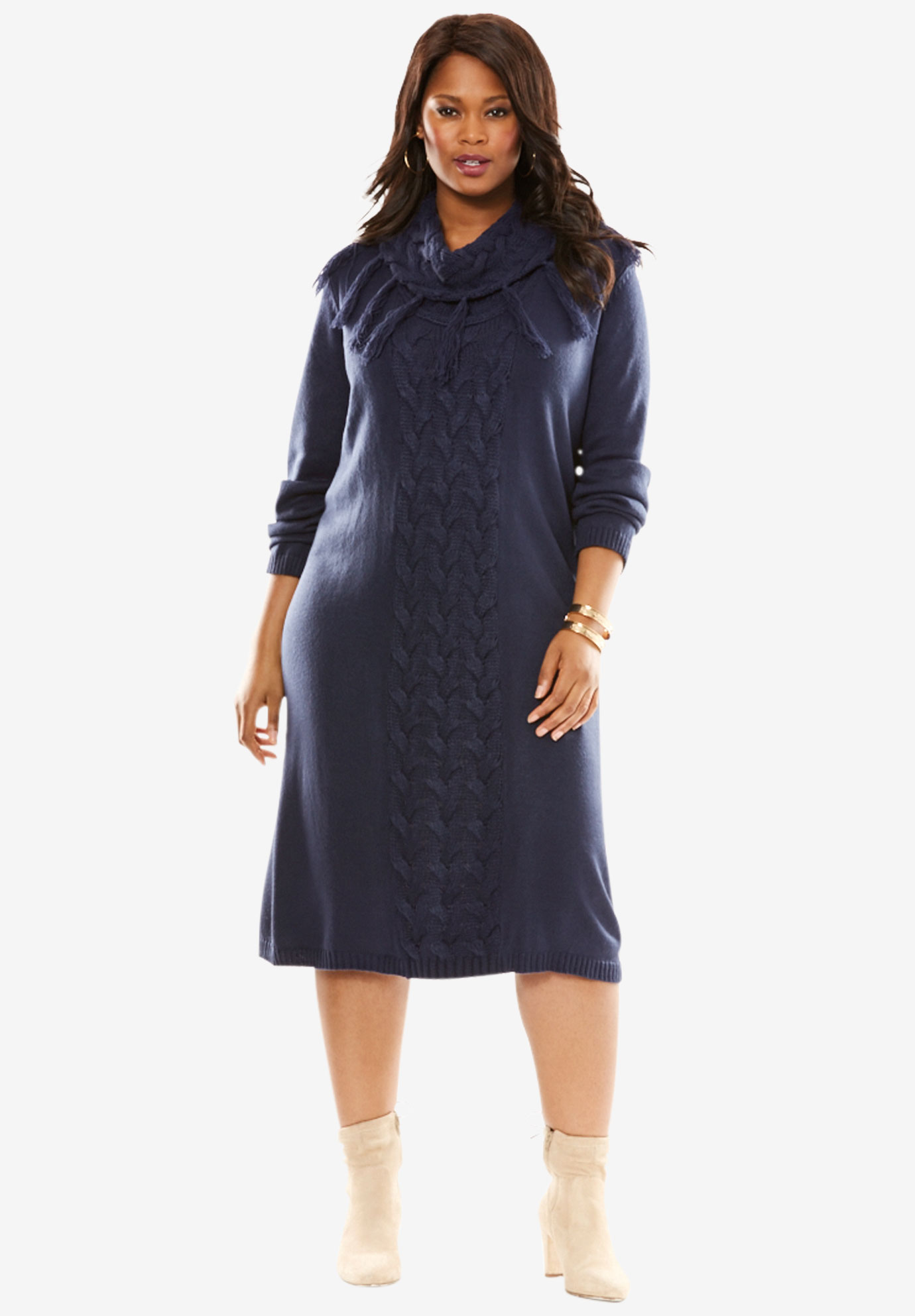 Cable Knit Sweater Dress | Plus Size Dresses | Roamanu0026#39;s
