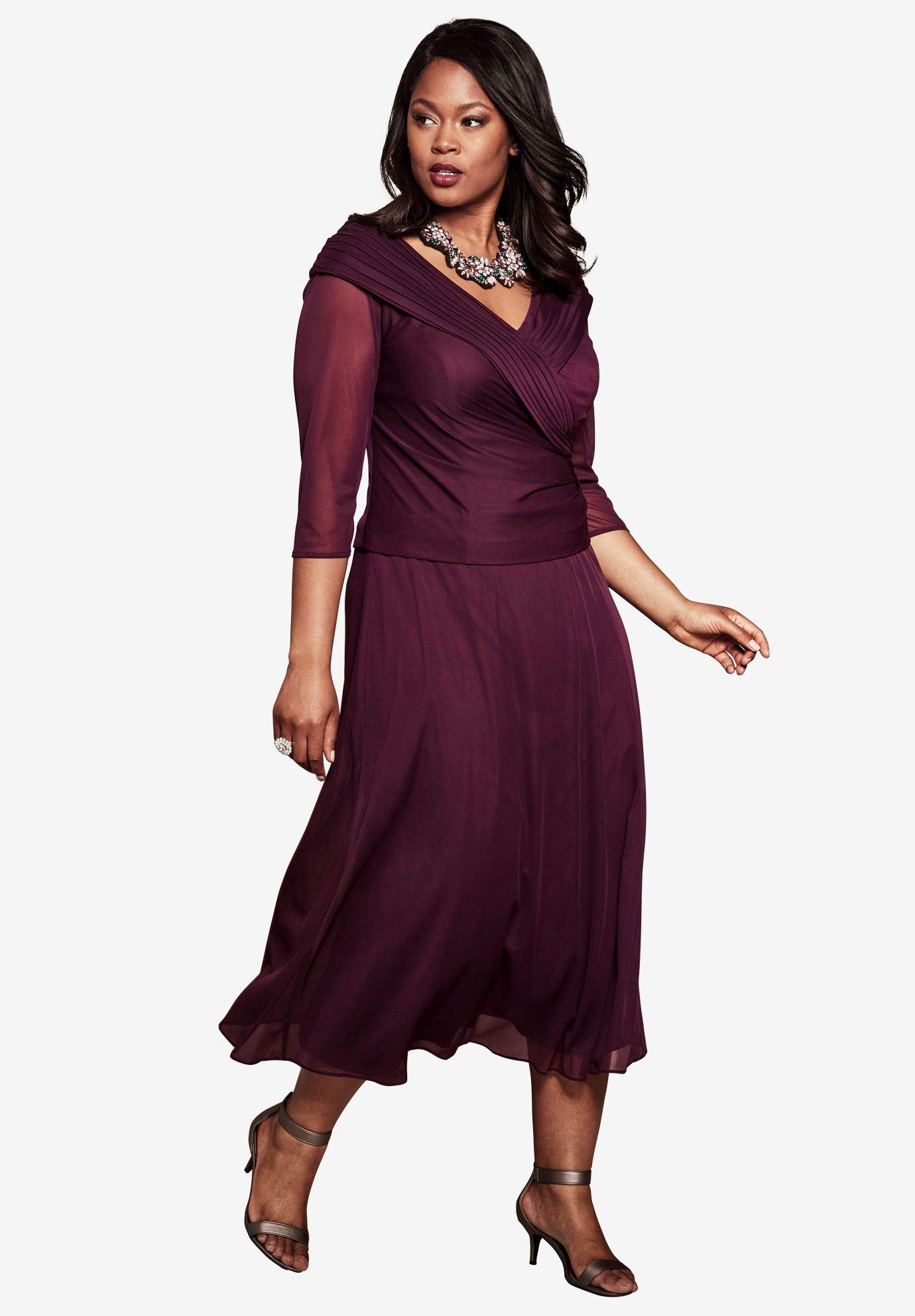 Shawl Collar Dress   Plus Size Evening Dresses   Roaman\'s
