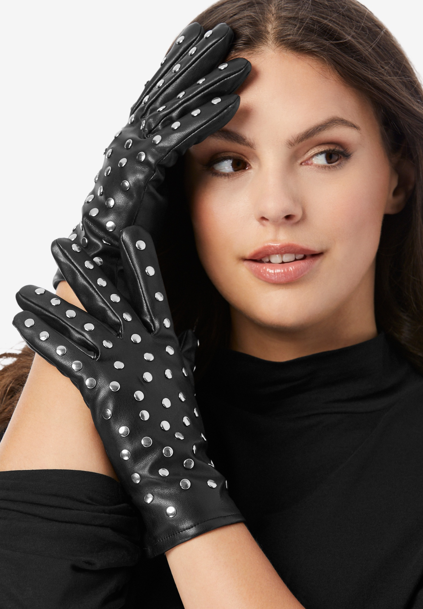 Studded Faux-Leather Gloves, BLACK