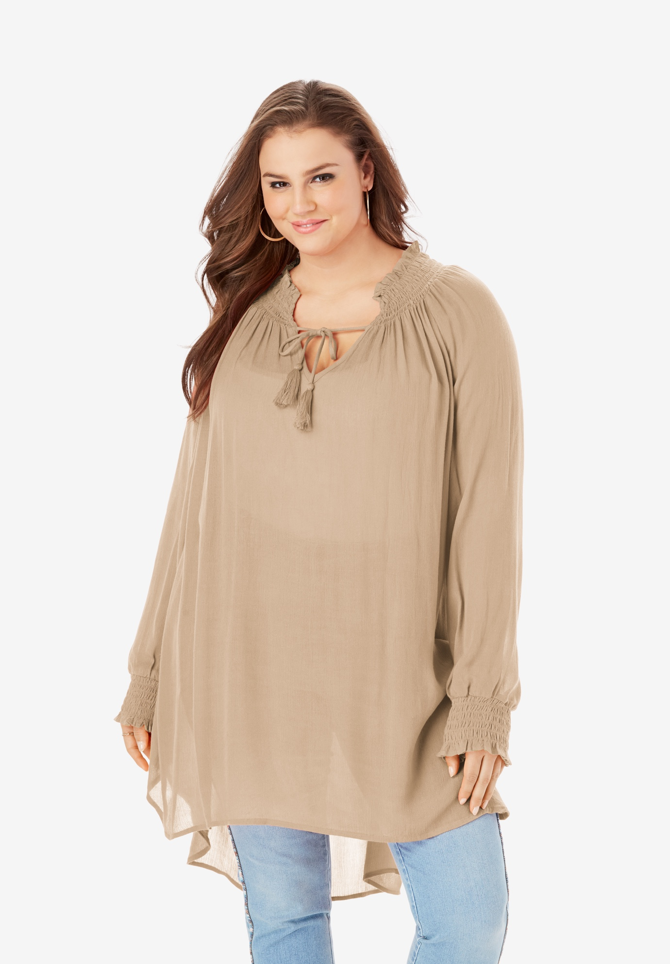 Smocked V-Neck Tunic with High-Low Hem,