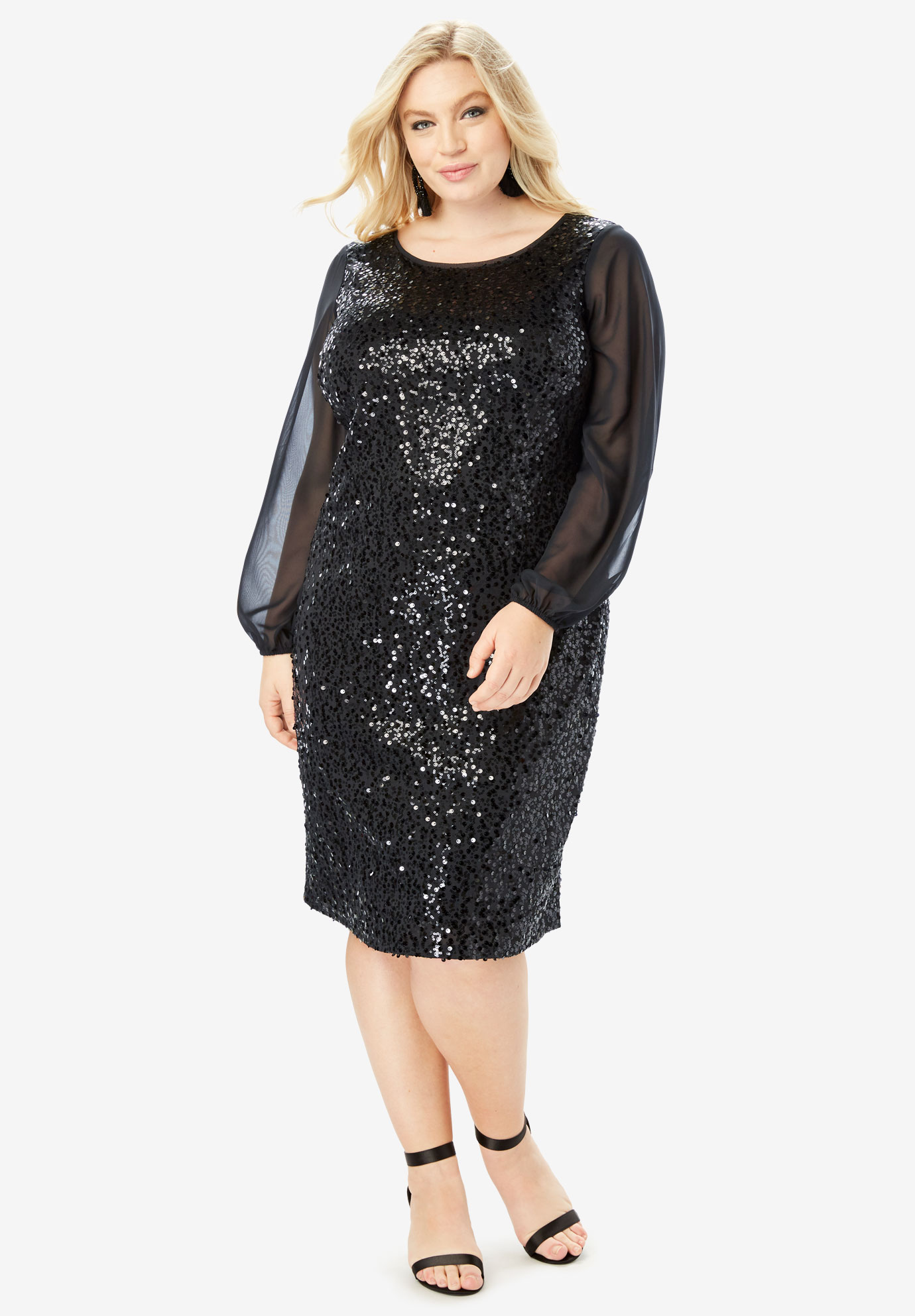 Sequin Sheath Dress with Long Sleeves,