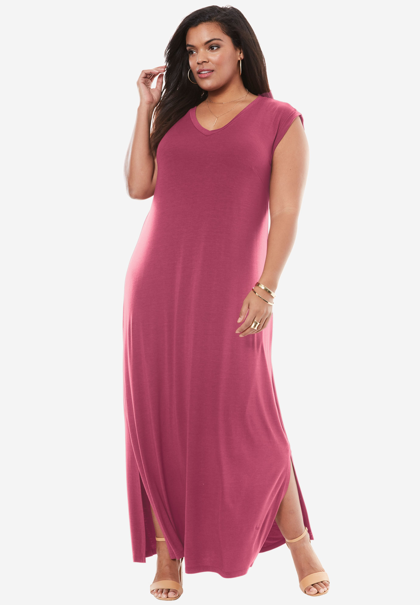 Side Slit T-Shirt Dress by Denim 24/7 | Plus Size Casual ...