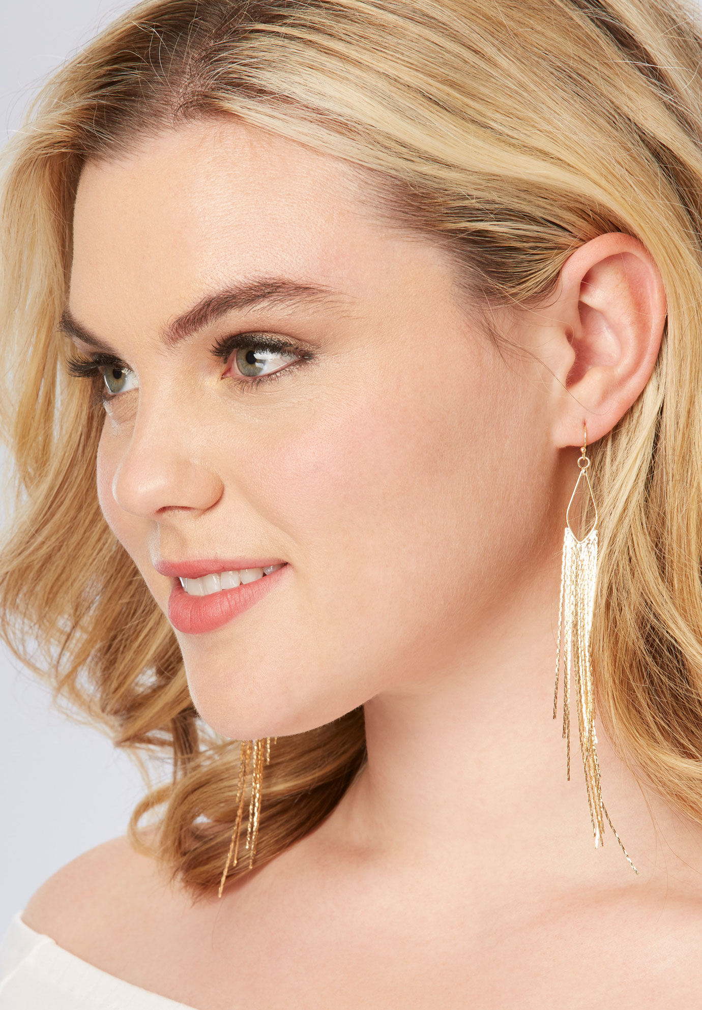 Fringe Chain Earrings, GOLD