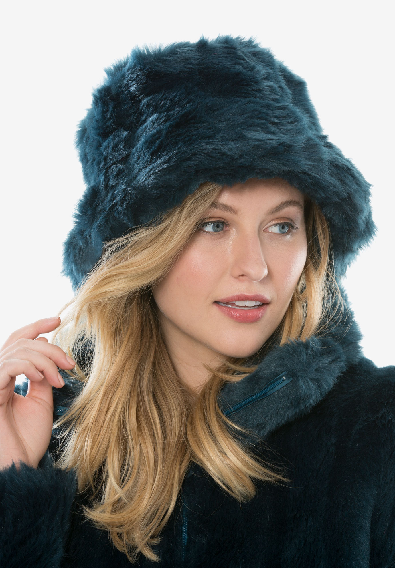 Faux-Fur Bucket Hat, MIDNIGHT TEAL, hi-res