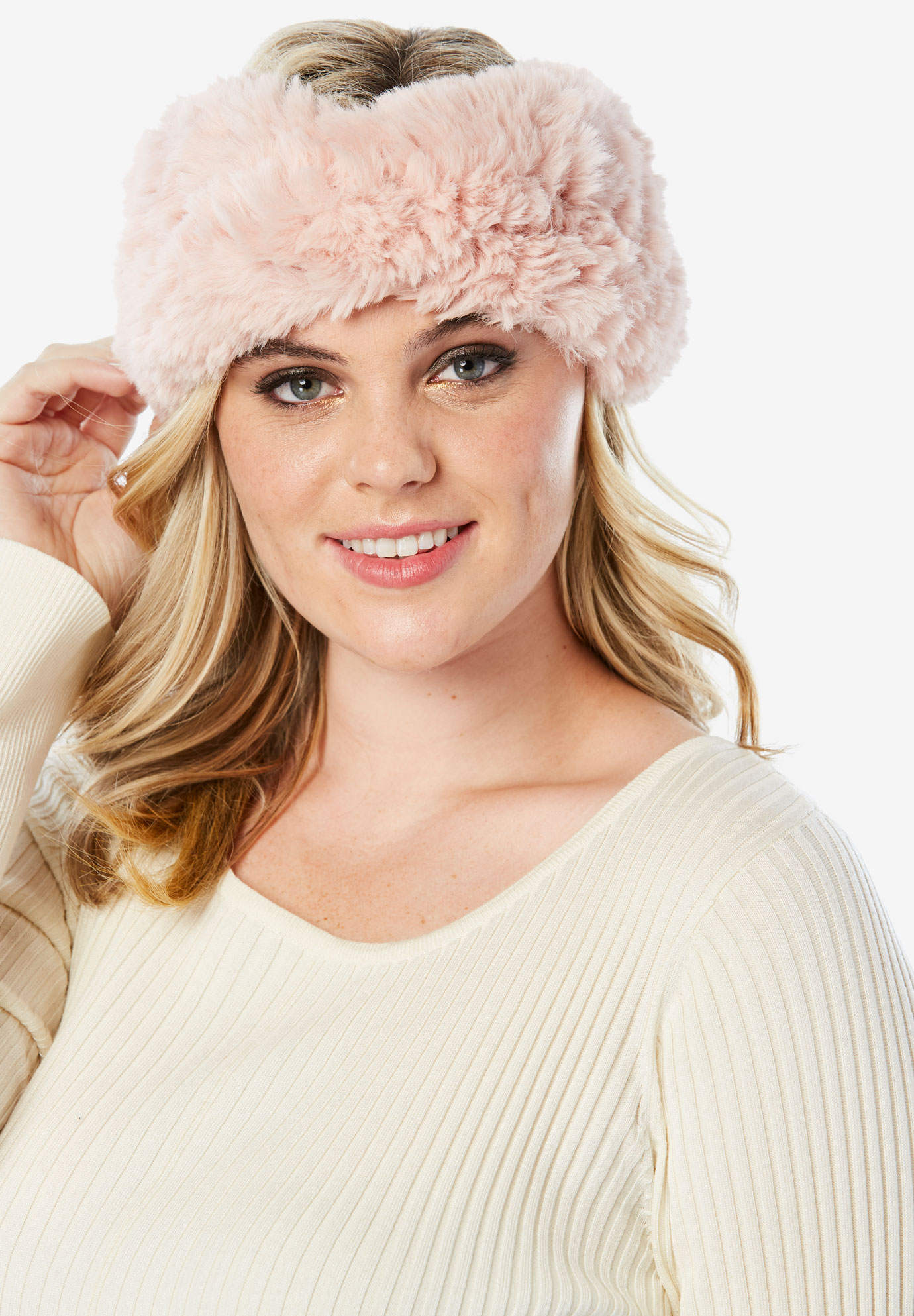 Faux Fur Headband, BLUSH