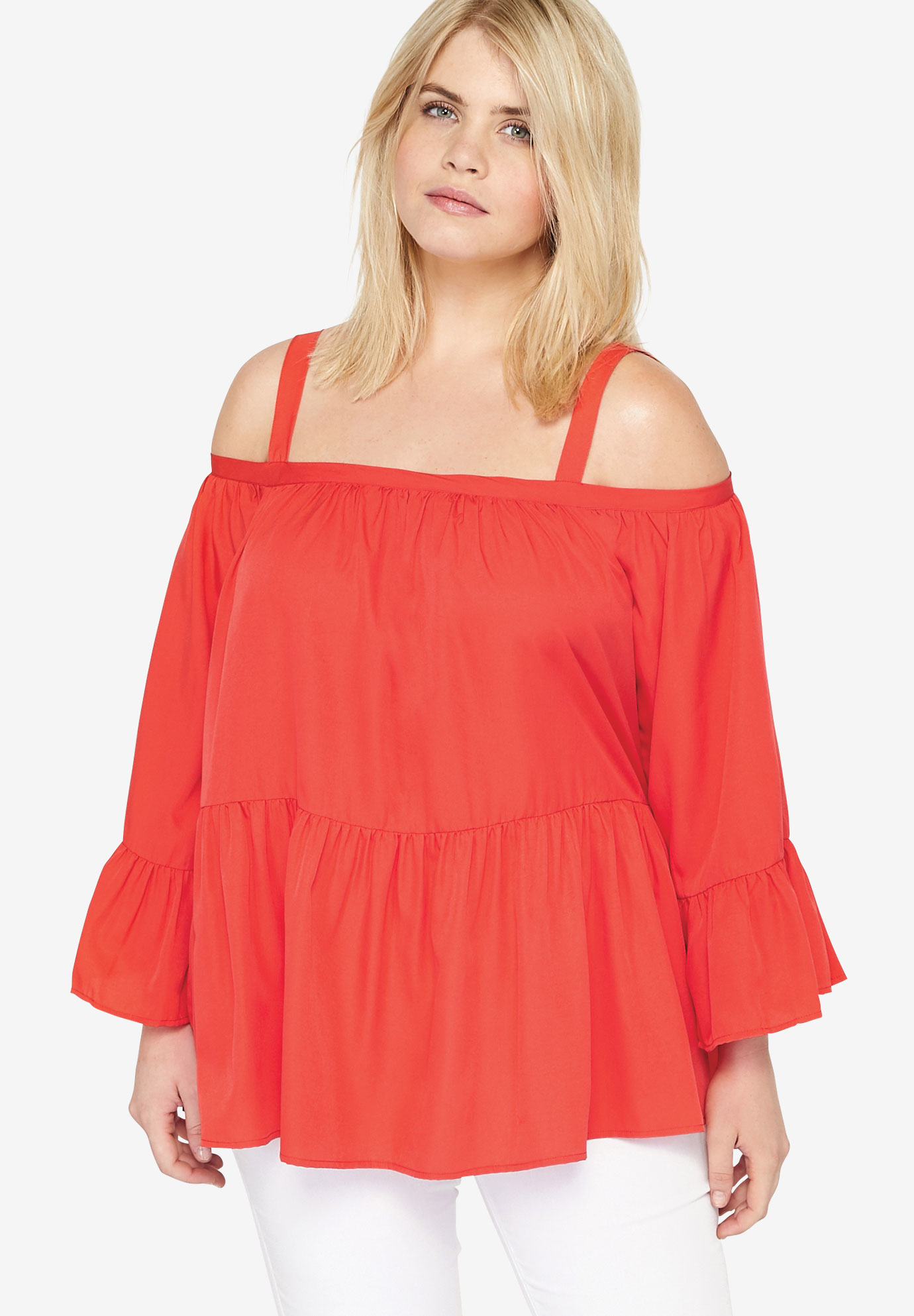 Tiered Cold Shoulder Tunic, CORAL, hi-res