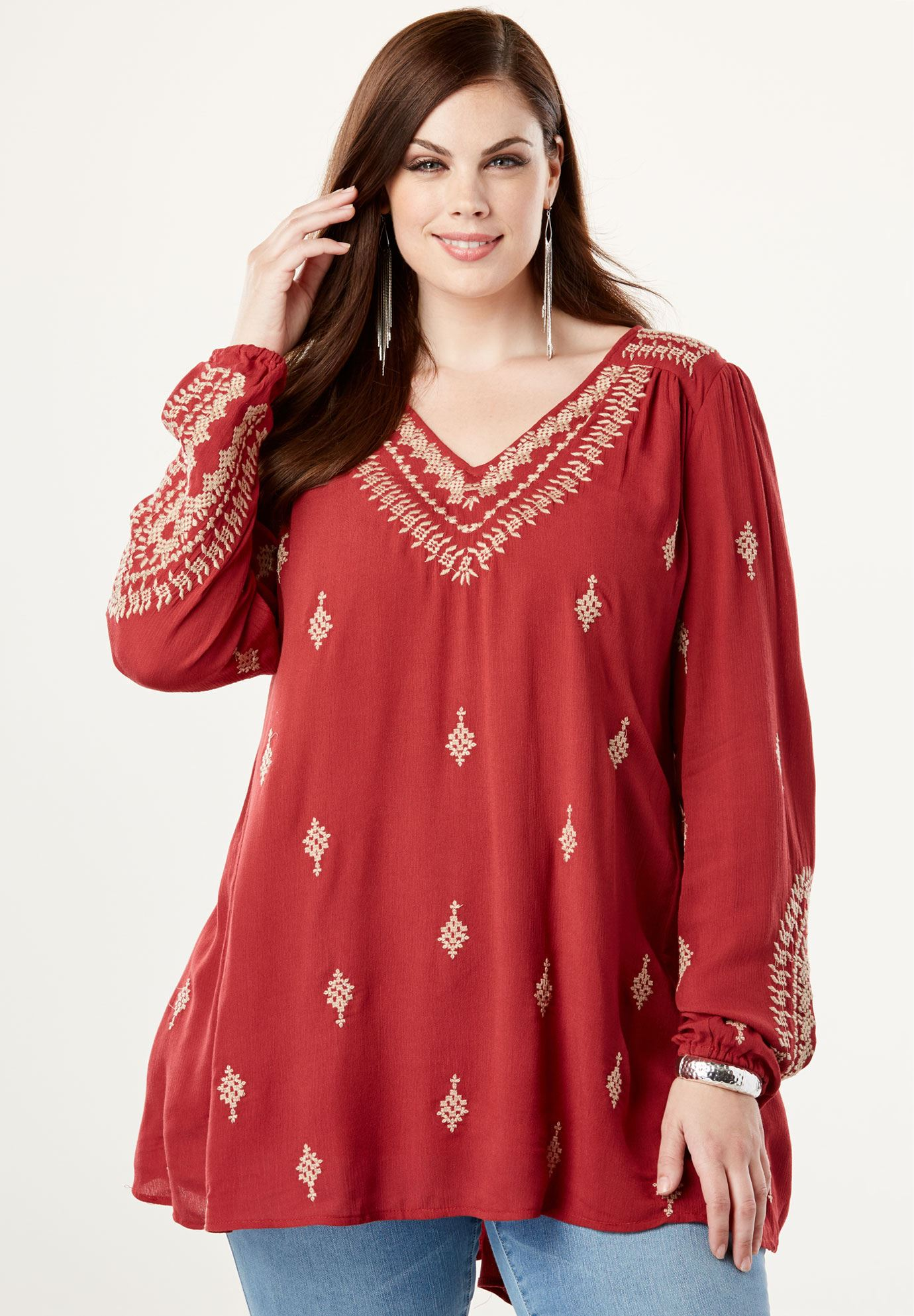 Embroidered Trapeze Maxi Tunic,