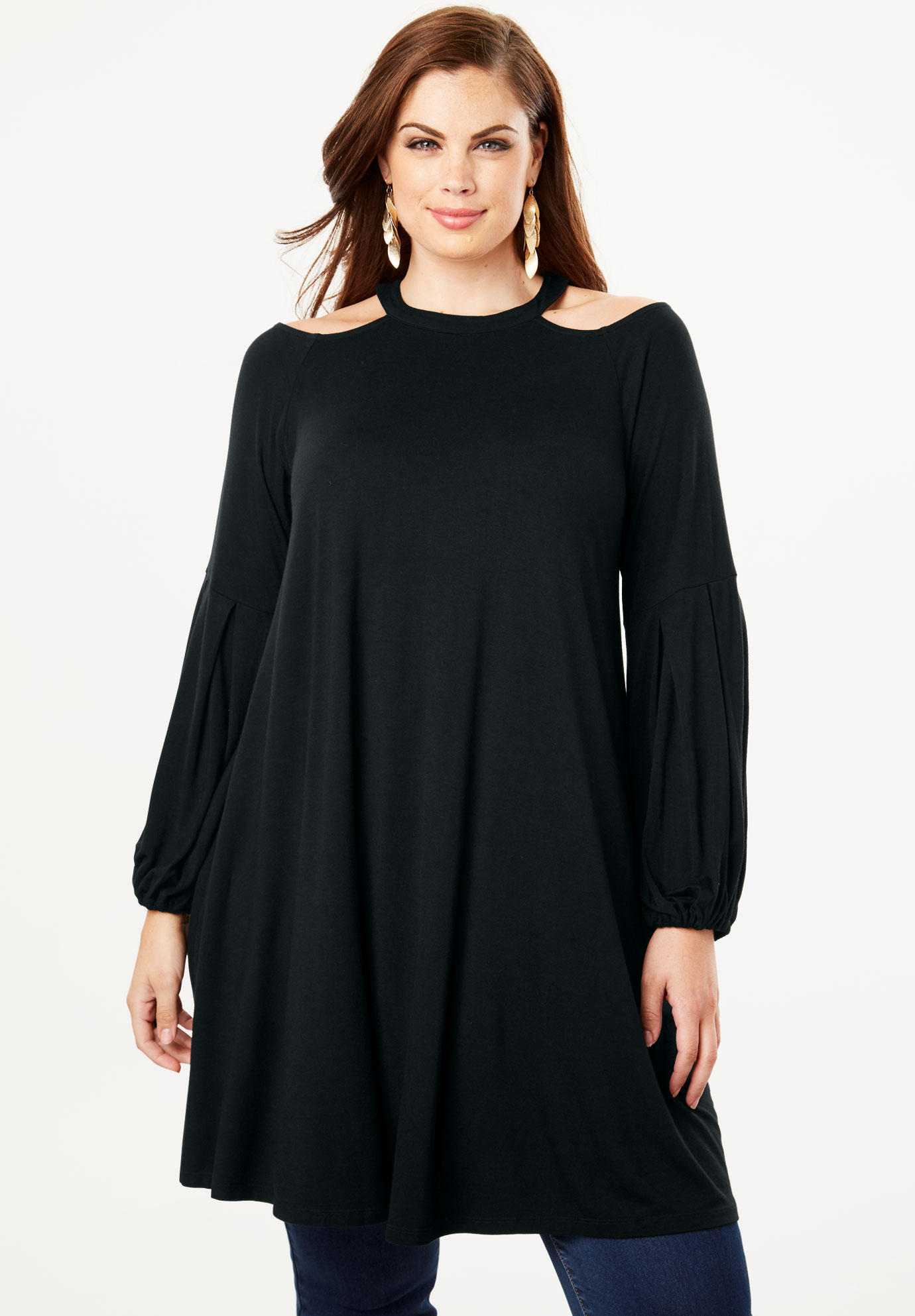 Cold-Shoulder Drape Maxi Tunic,
