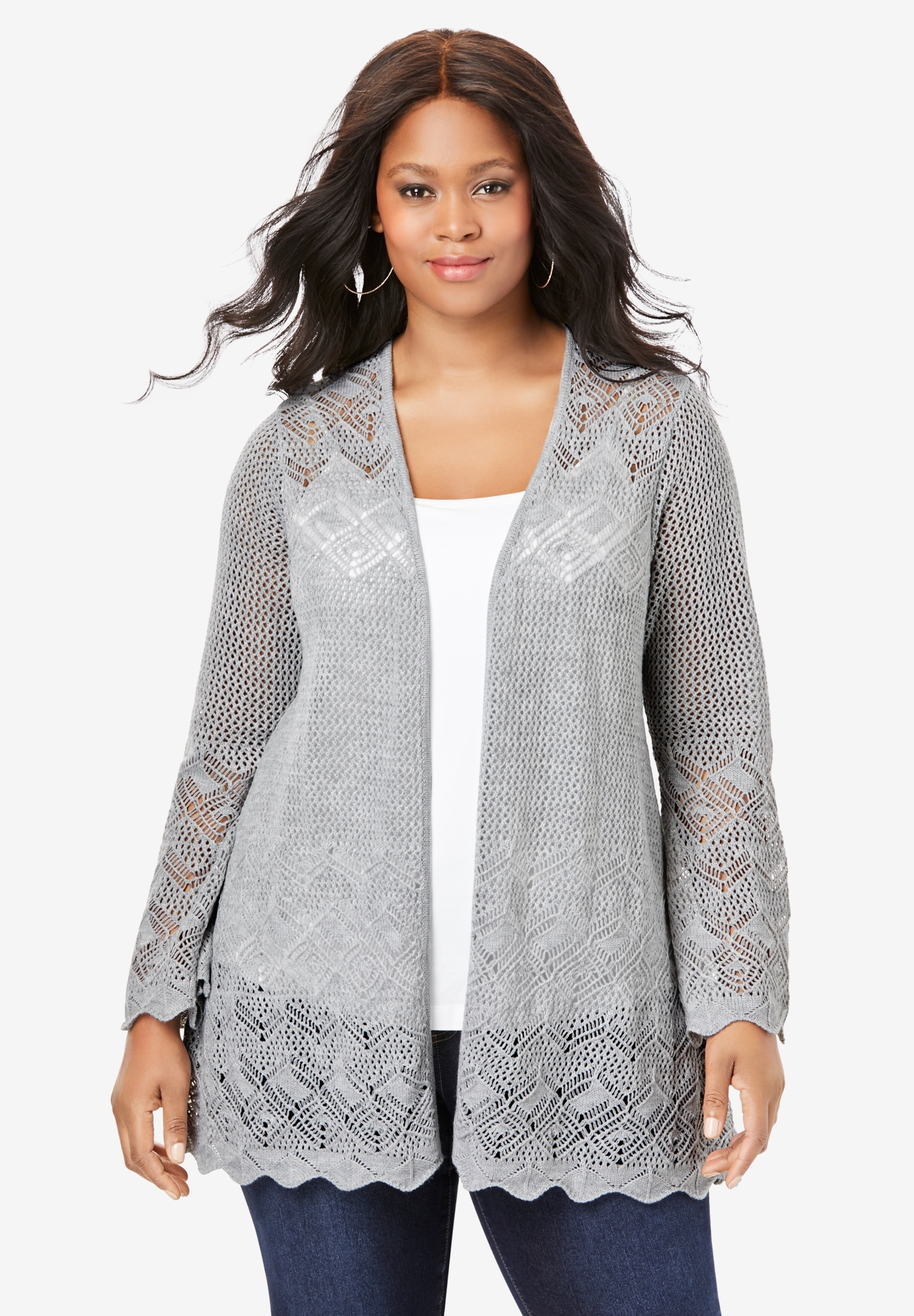 Bell-Sleeve Pointelle Cardigan,