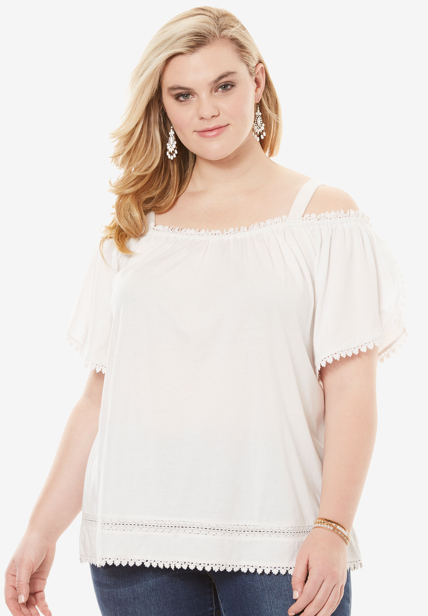 Cold Shoulder Flutter-Sleeve Top, WHITE, hi-res