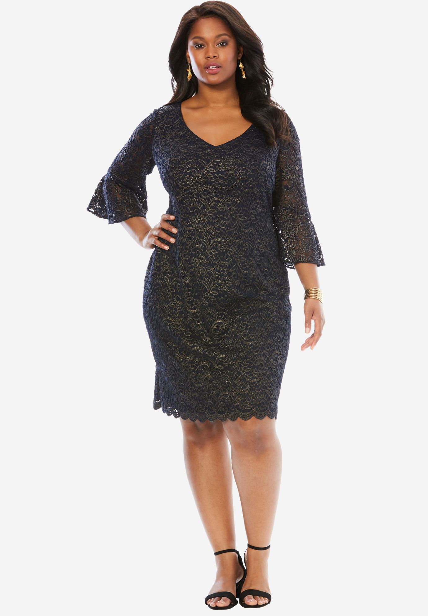 Lace Sheath Dress by Alex Evenings, NAVY GOLD, hi-res