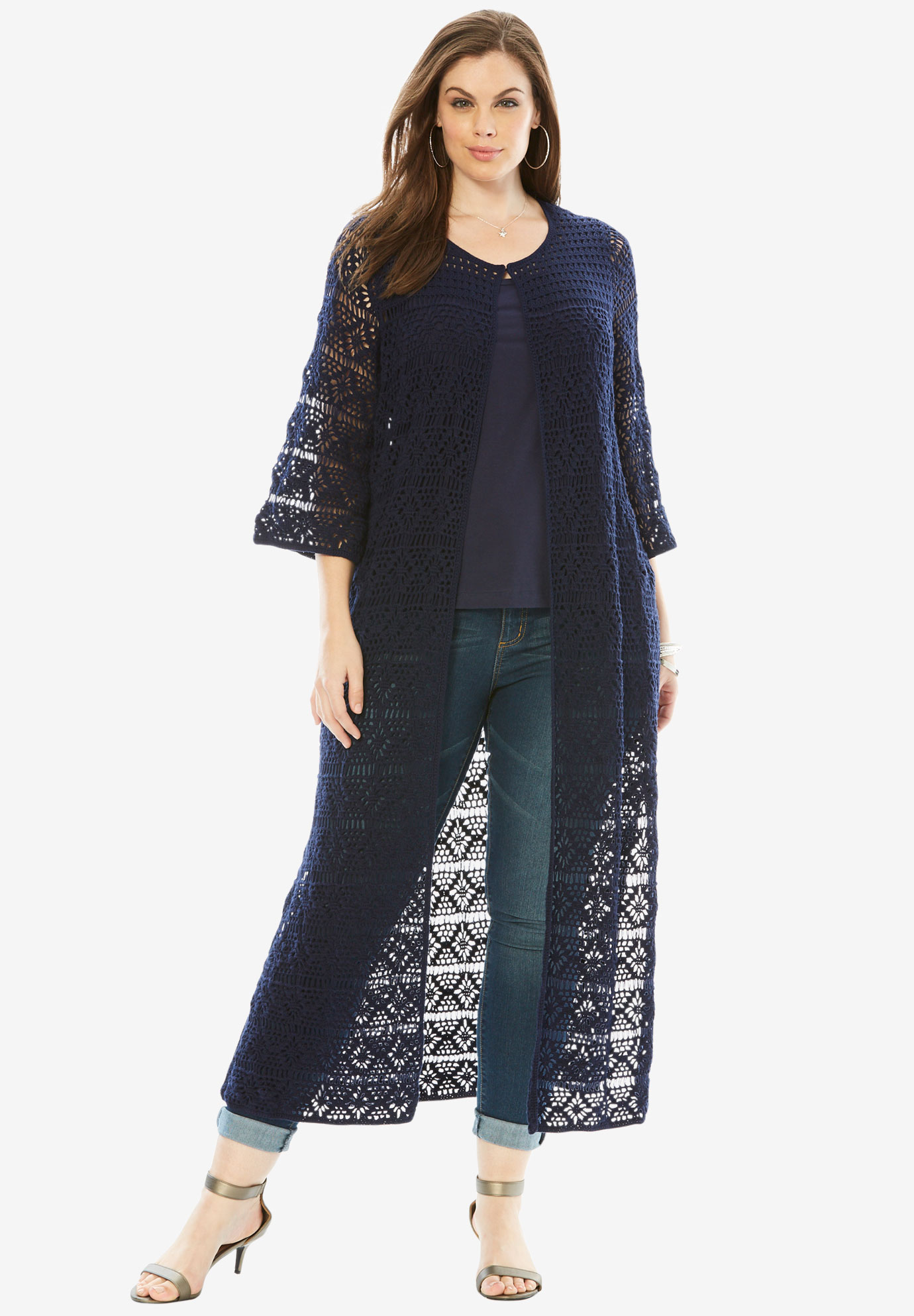Designer Collection Bell Sleeve Crochet Cardigan,