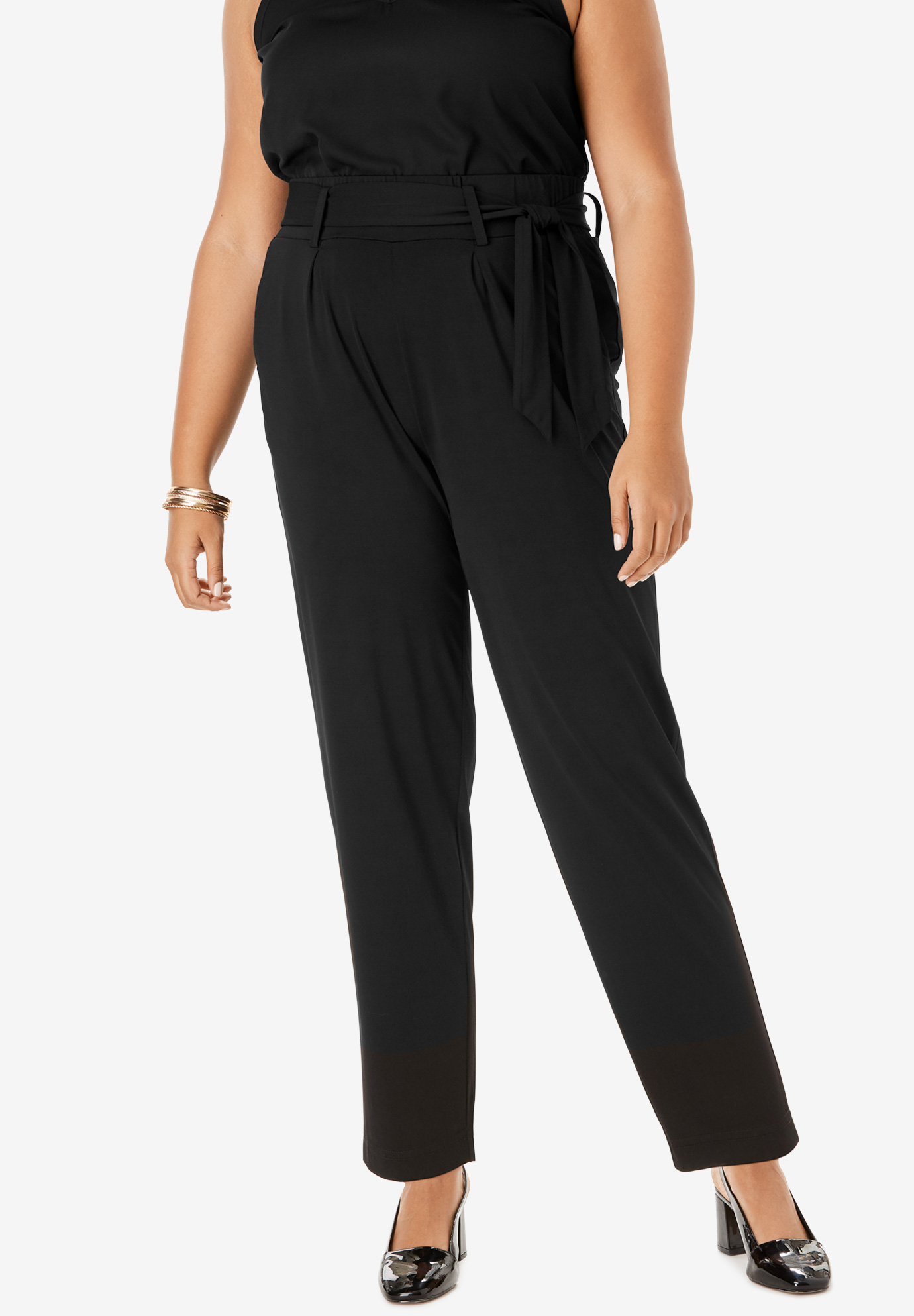 Pleated Pull-On Pant with Tie Sash,
