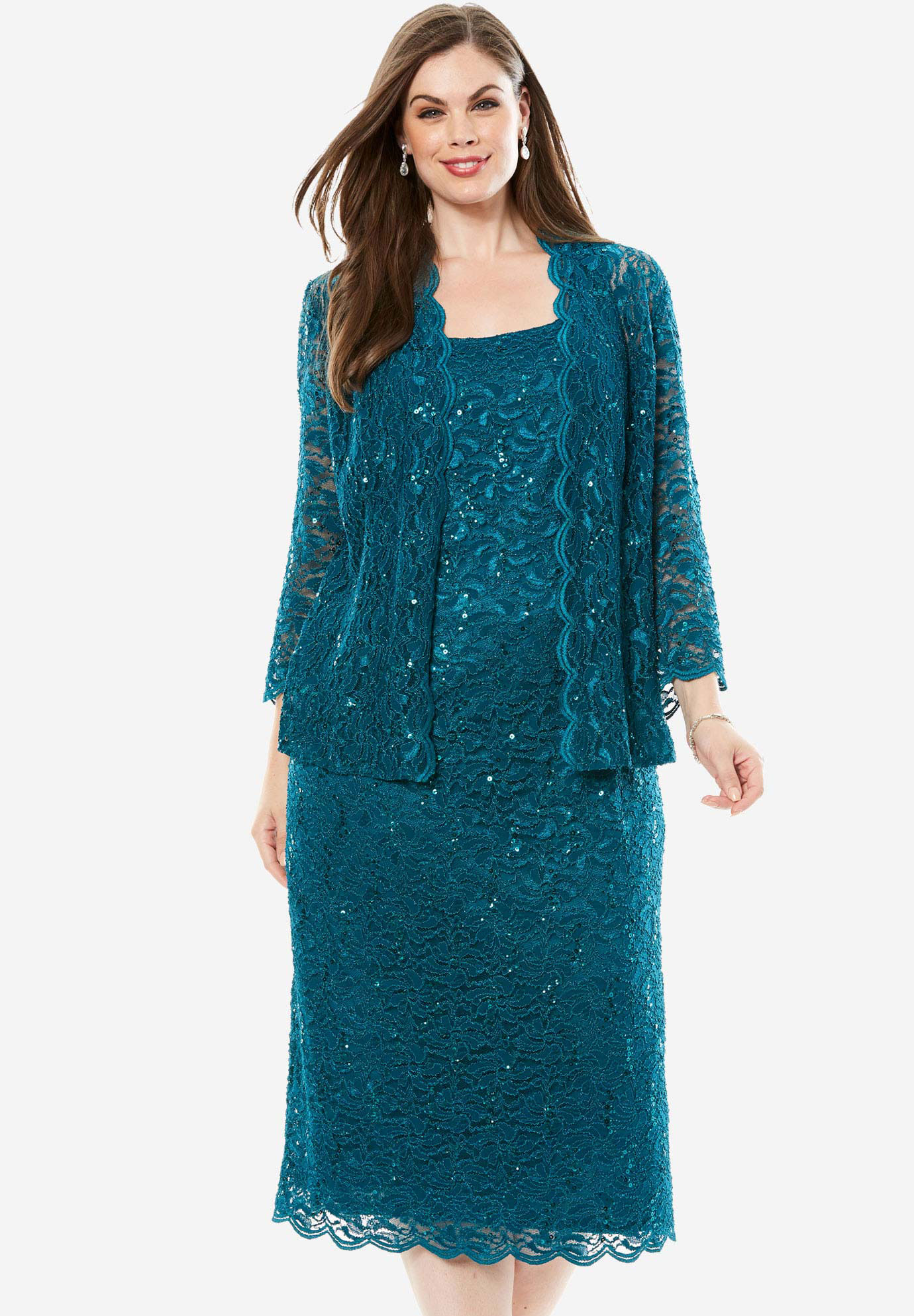 Two-Piece Lace Jacket Dress, DEEP TEAL, hi-res