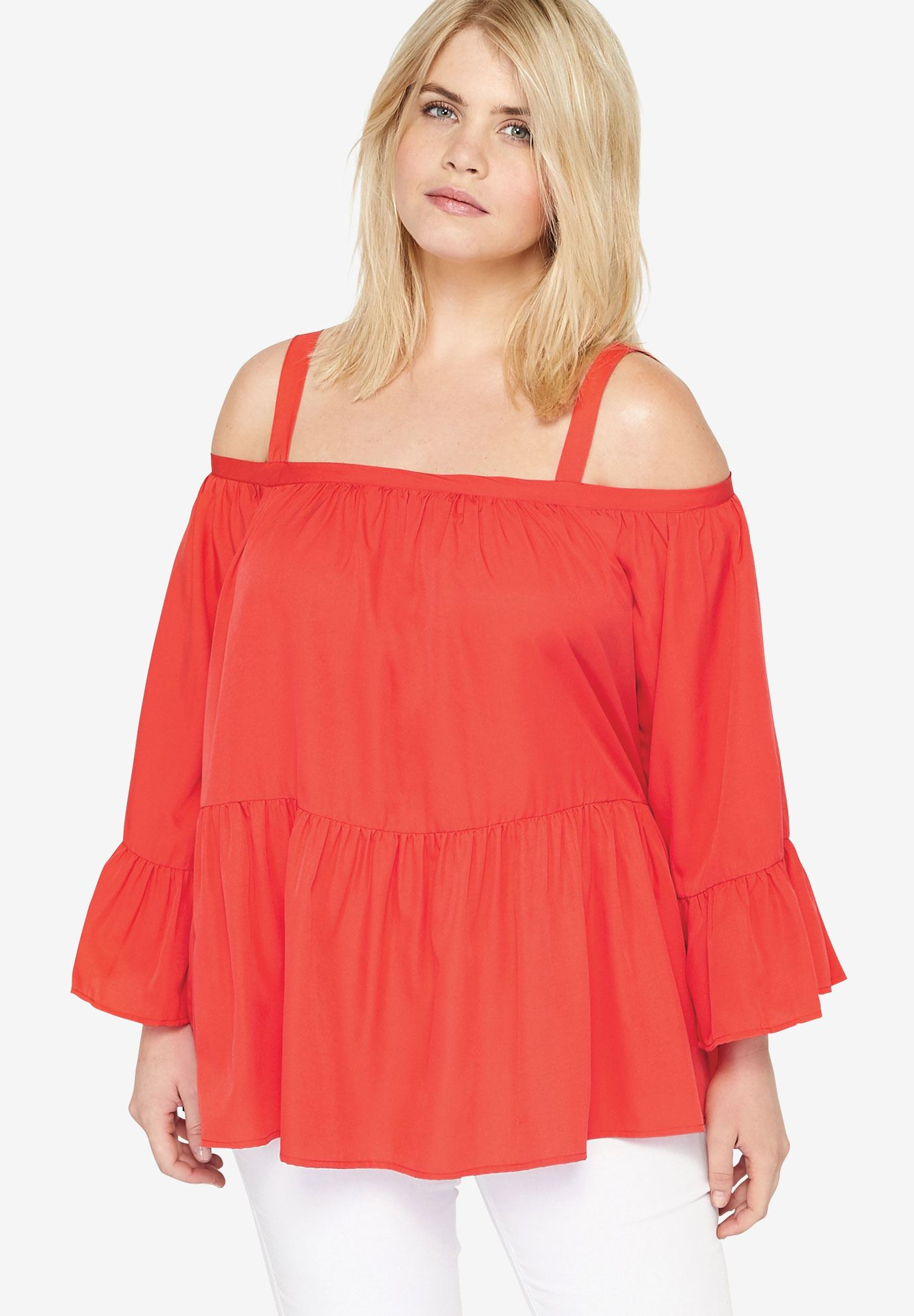 Tiered Cold Shoulder Tunic,