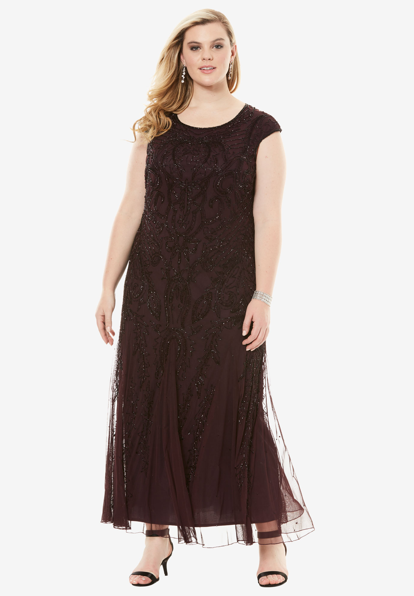 A-Line Beaded Dress by Pisarro Nights, WINE, hi-res
