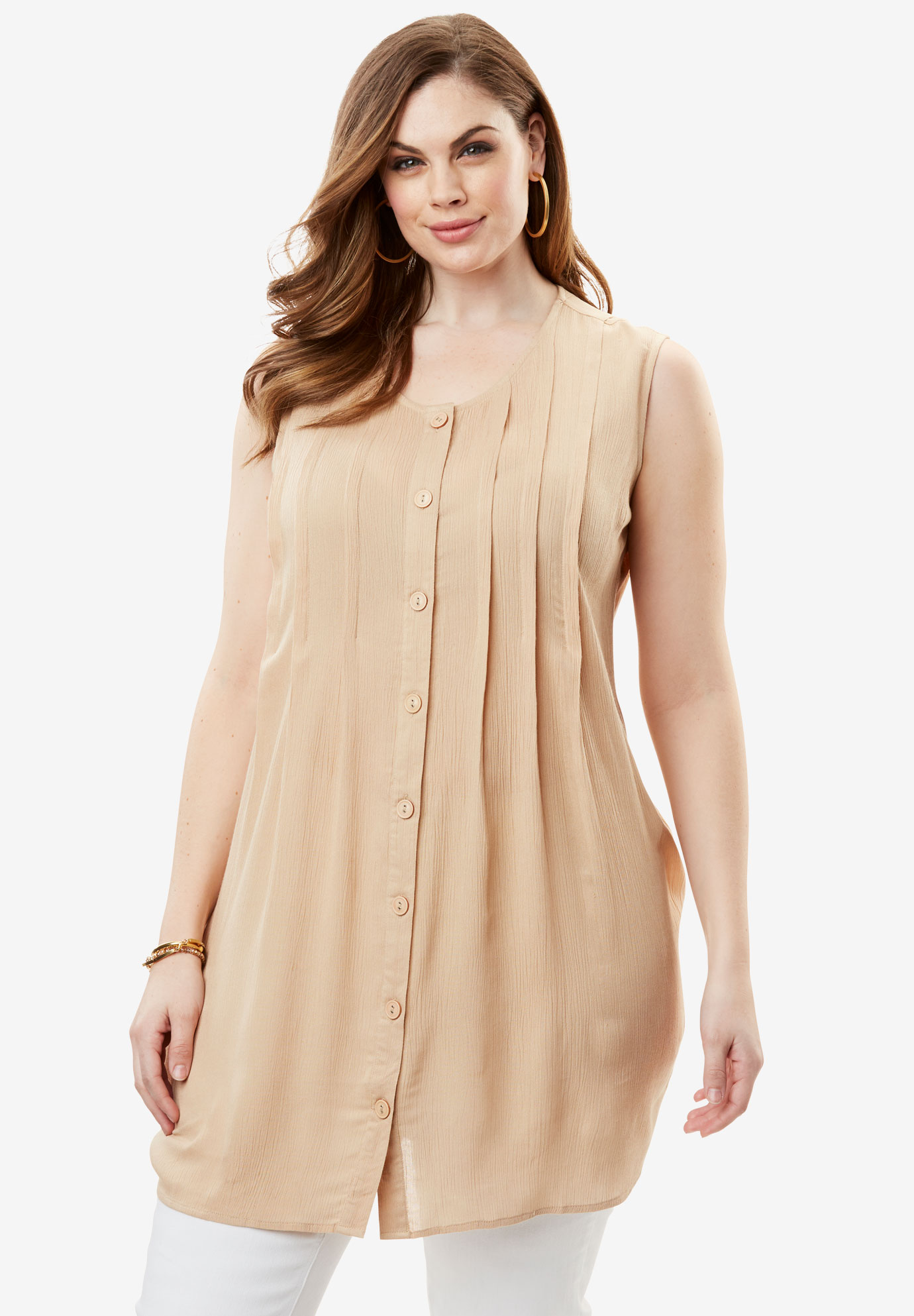 Sleeveless Crinkle Tunic,