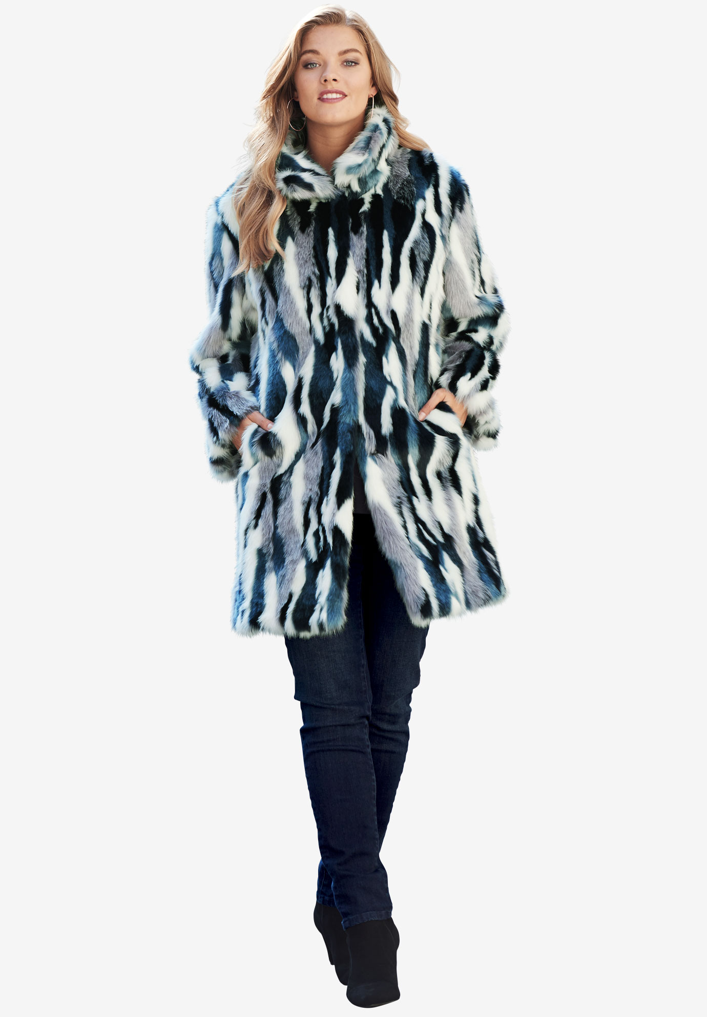High-Collar Faux Fur Coat by Donna Salyers Fabulous-Furs,