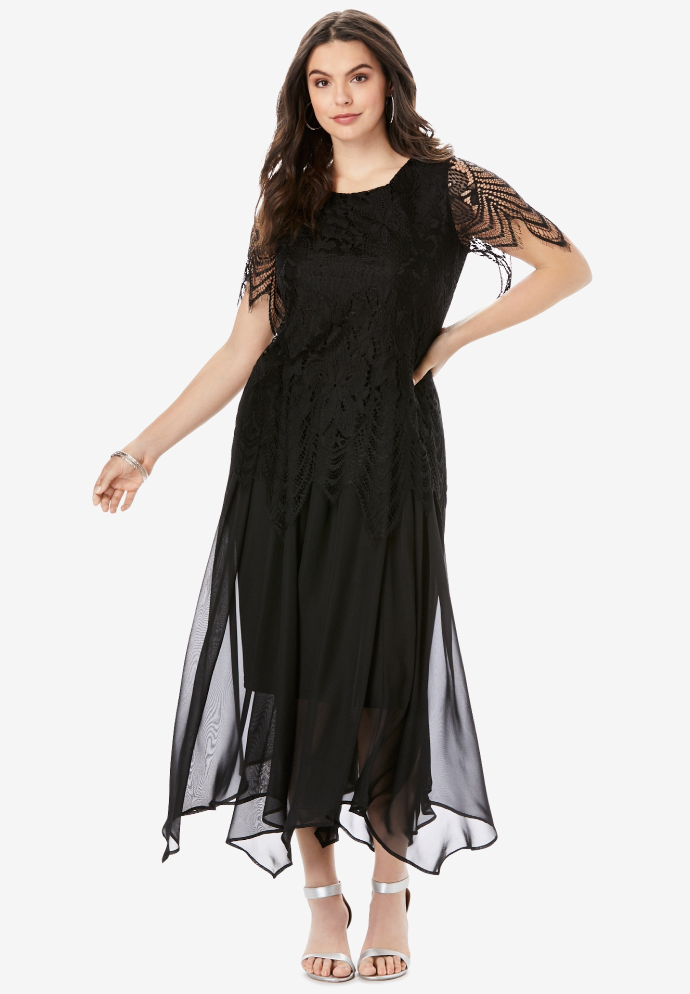 Lace Handkerchief-Hem Dress,