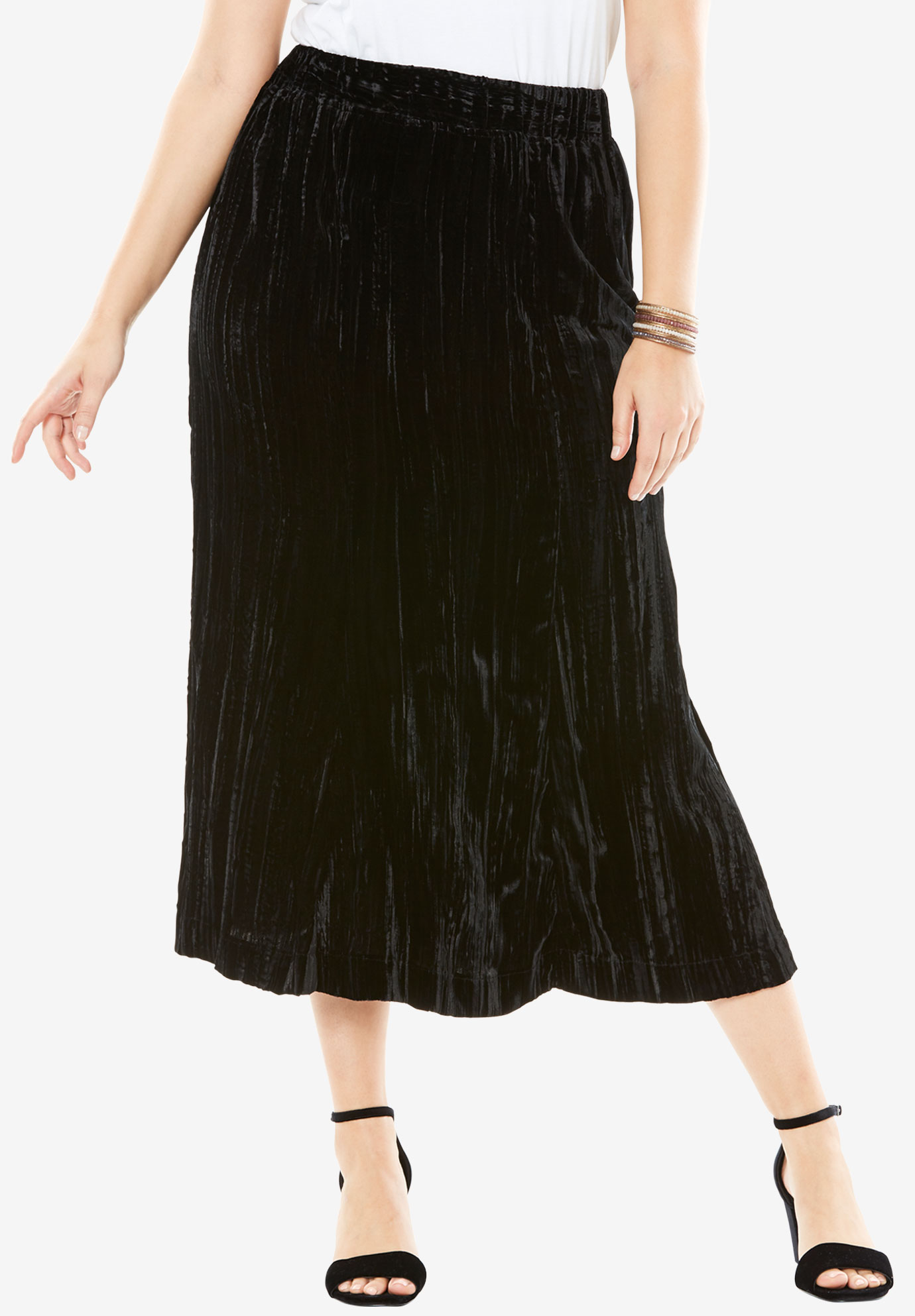 Pleated Velvet Skirt, BLACK, hi-res